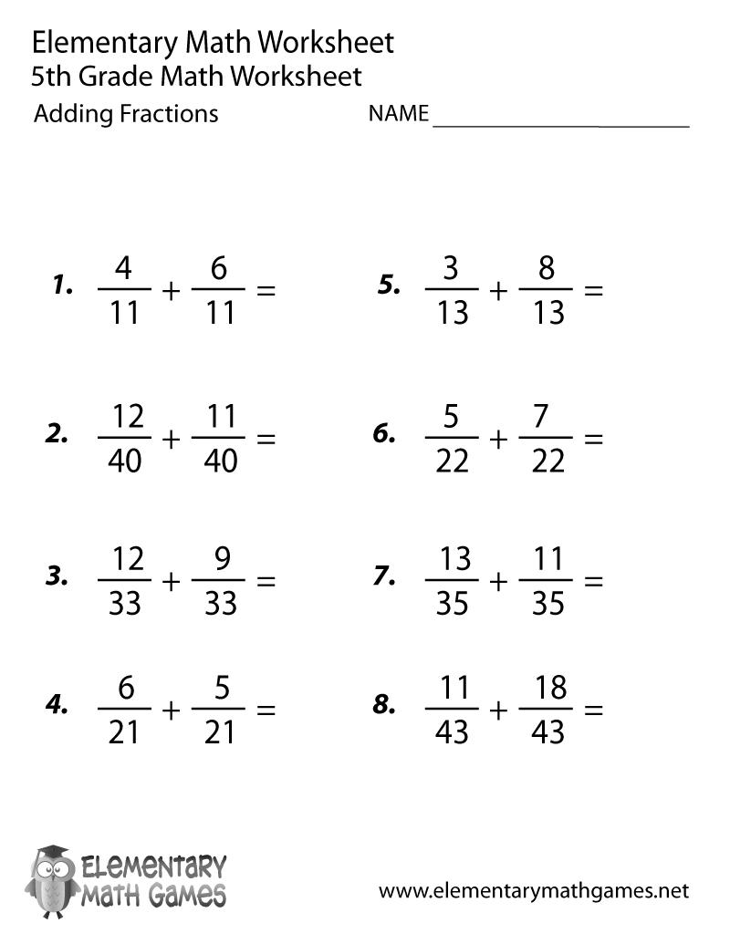 Free Printable Adding Fractions Worksheet For Fifth Grade - Free Printable Worksheets For 5Th Grade
