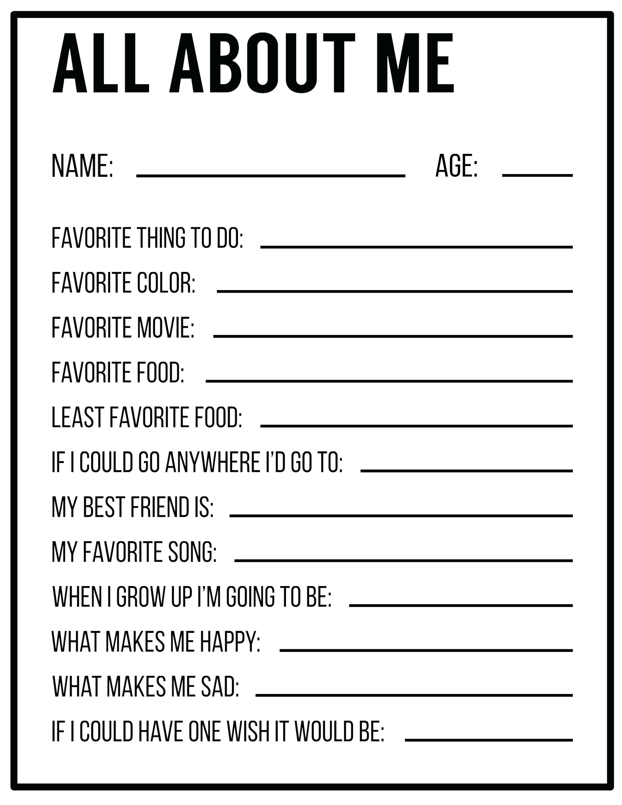 Free Printable All About Me Worksheet Back To School Worksheet All - Free Printable Worksheets For 1St Grade Language Arts