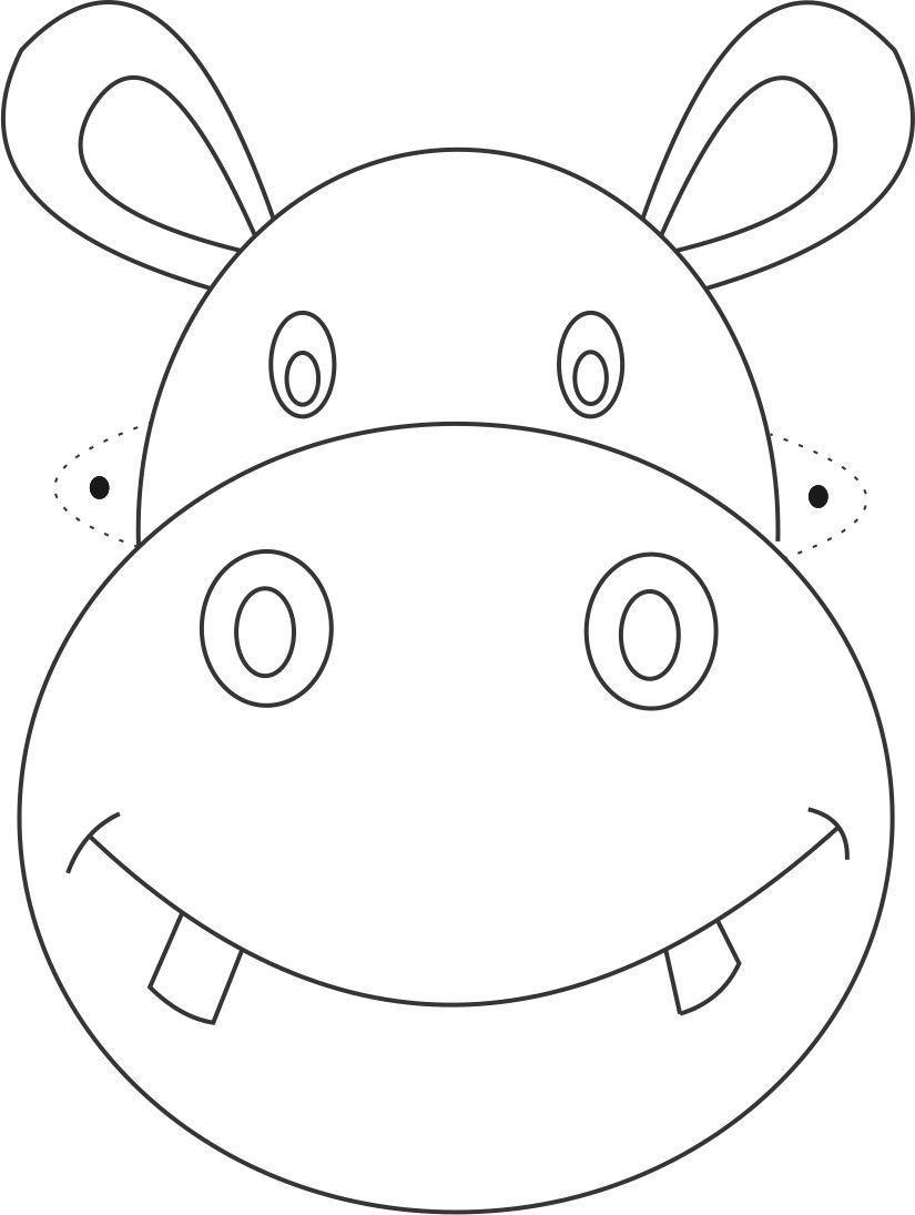 Free Printable Animal Masks Templates   Hippo Mask Printable - Free Printable Lion Mask