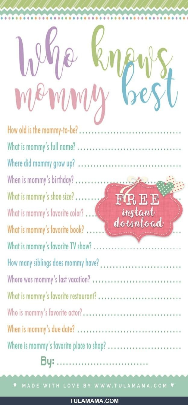 Free Printable Baby Shower Games Who Knows Mommy The Best | Gender - Free Printable Baby Shower Games Who Knows Mommy The Best