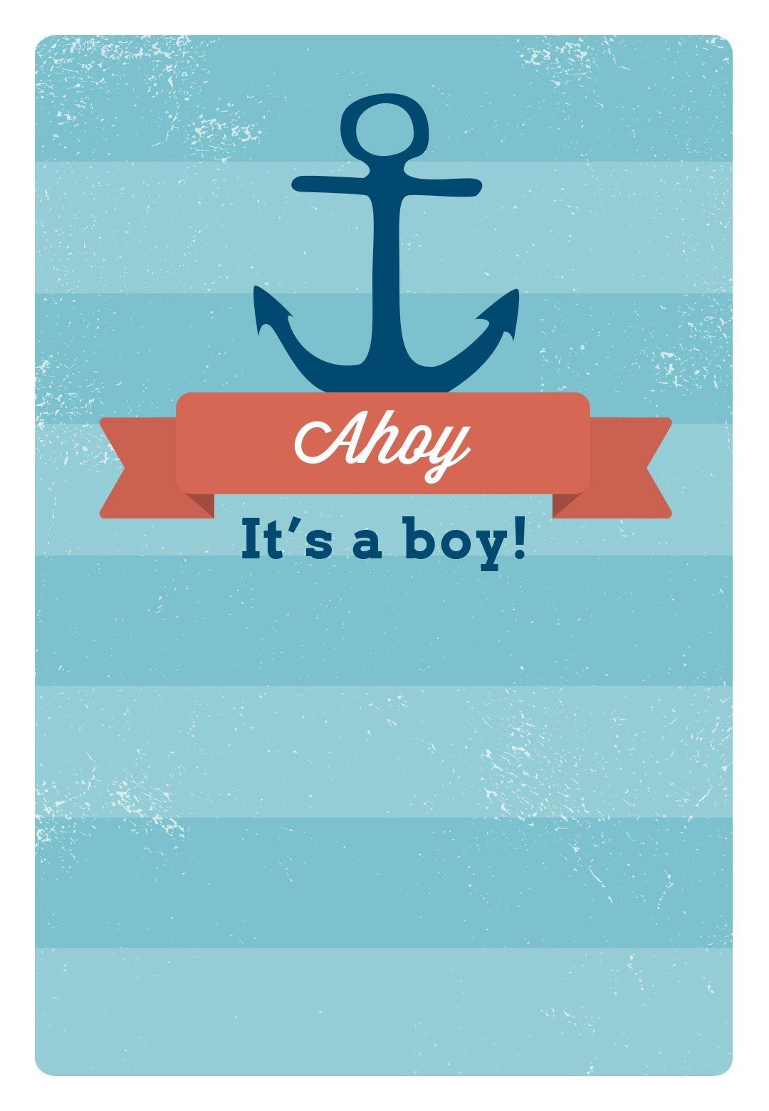 Free Printable Baby Shower Invitation - Ahoy It's A Boy | Greetings - Free Printable Blank Baby Shower Invitations