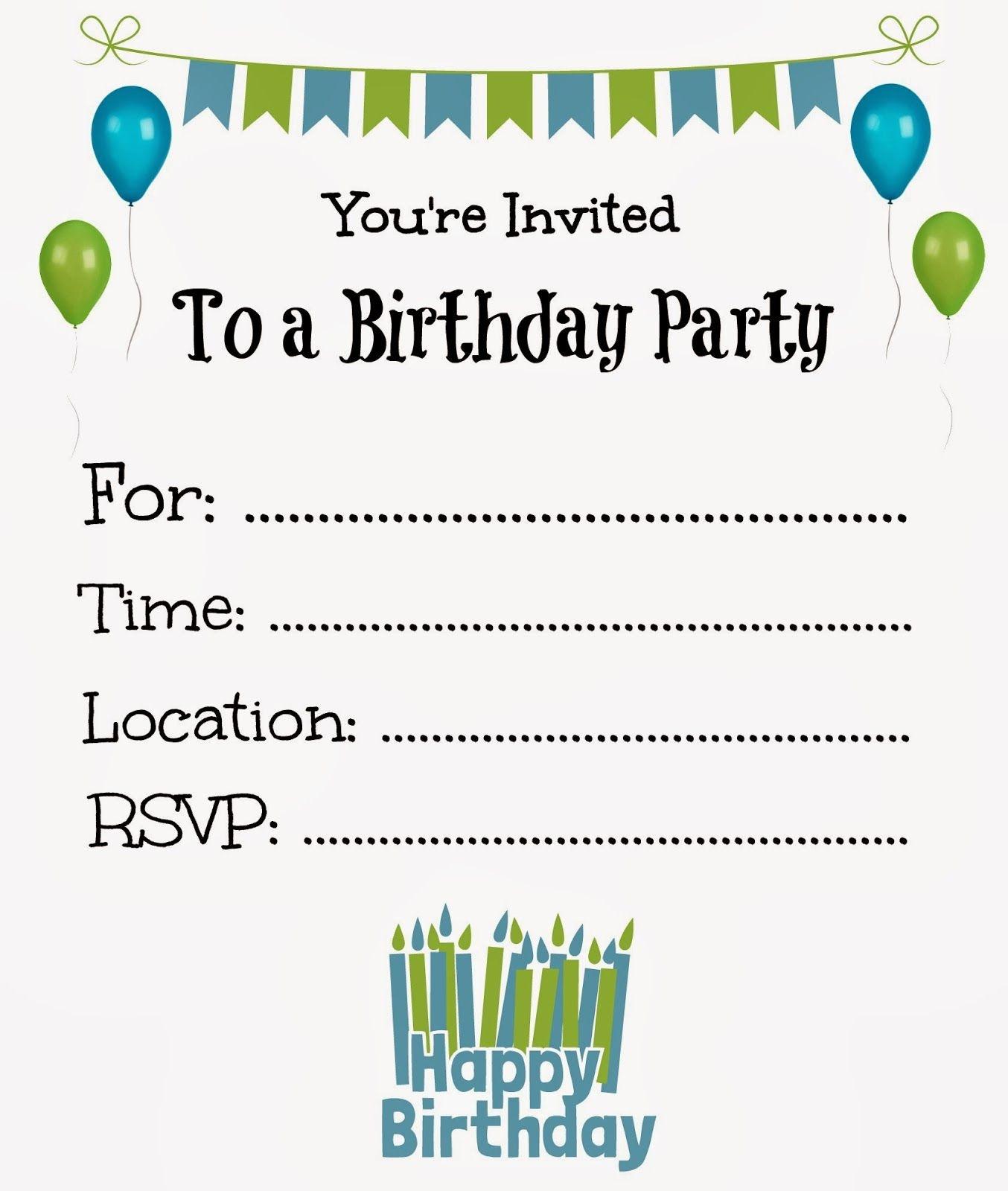 Free Printable Birthday Invitations For Kids #freeprintables - Free Printable Boy Birthday Invitations