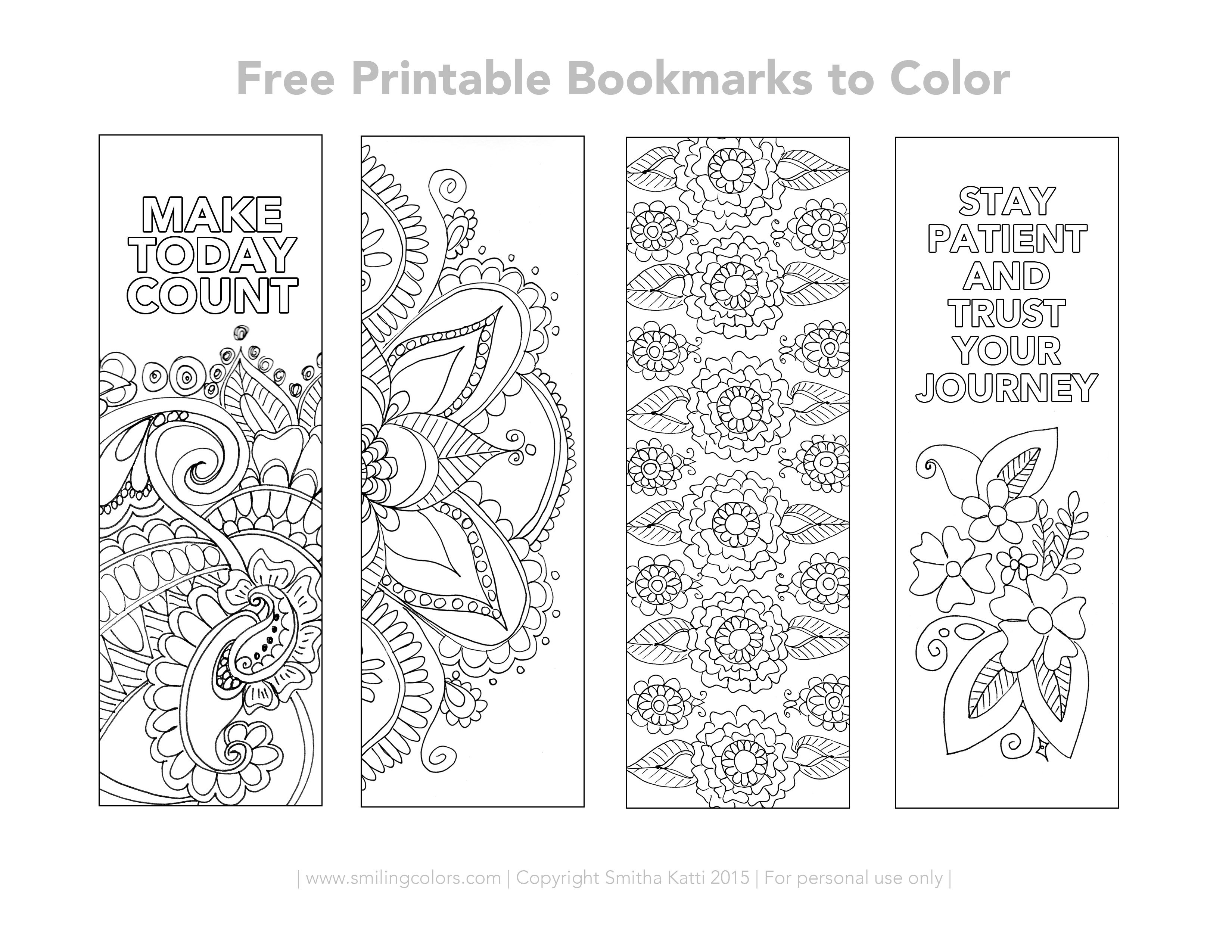 Free Printable Bookmarks To Color   Inspirational   Free Printable - Free Printable Spring Bookmarks