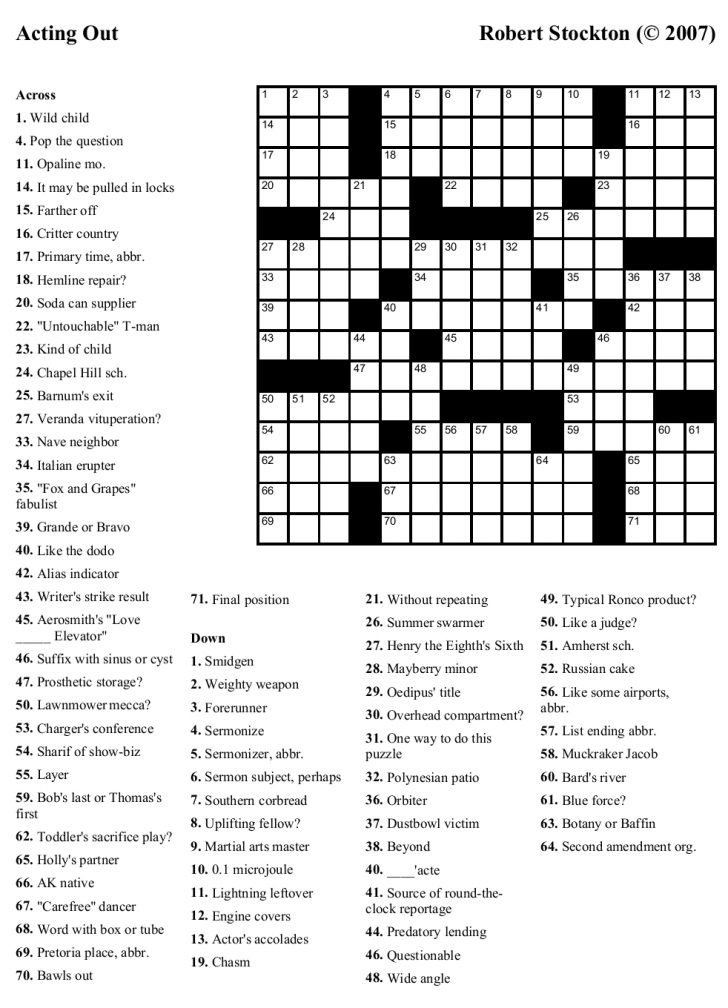 Free Printable Crosswords Medium