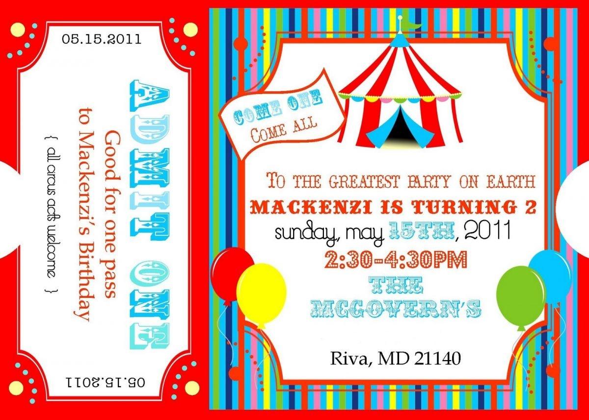 Free Printable Carnival Ticket Invitations   Projects To Try - Free Printable Ticket Invitation Templates