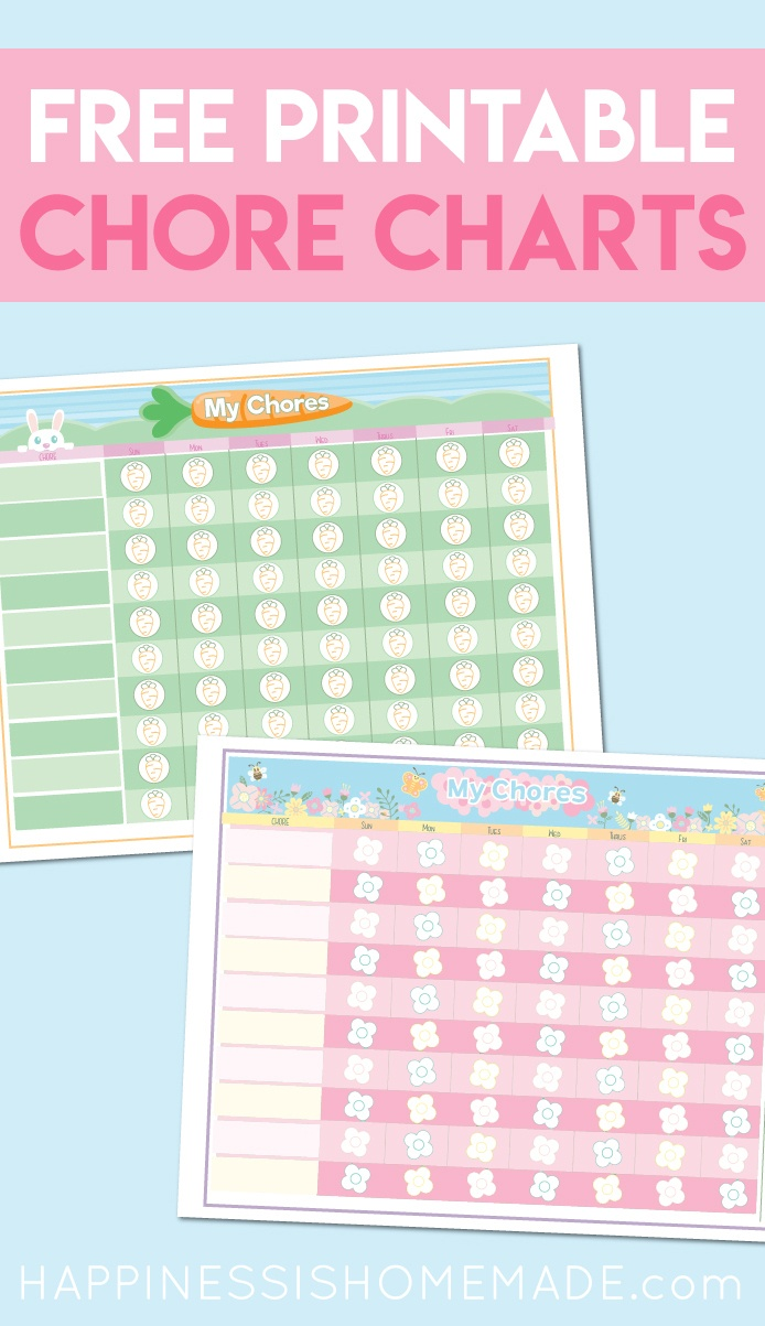 Free Printable Chore Chart For Kids - Happiness Is Homemade - Free Printable Charts For Kids
