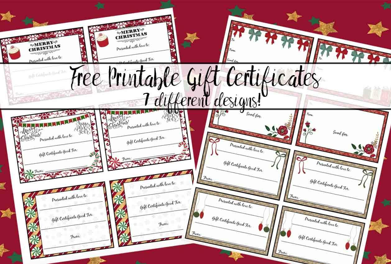 Free Printable Christmas Gift Certificates: 7 Designs, Pick Your - Free Printable Christmas Gift Cards