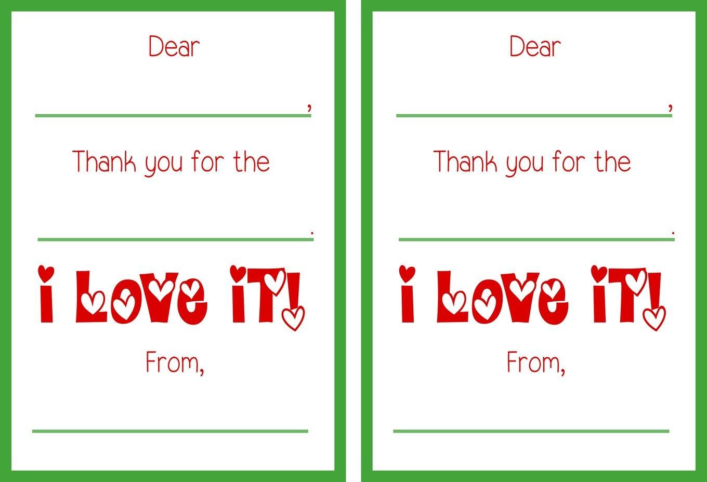 Free Printable Christmas Thank You Notes – Festival Collections - Free Christmas Thank You Notes Printable