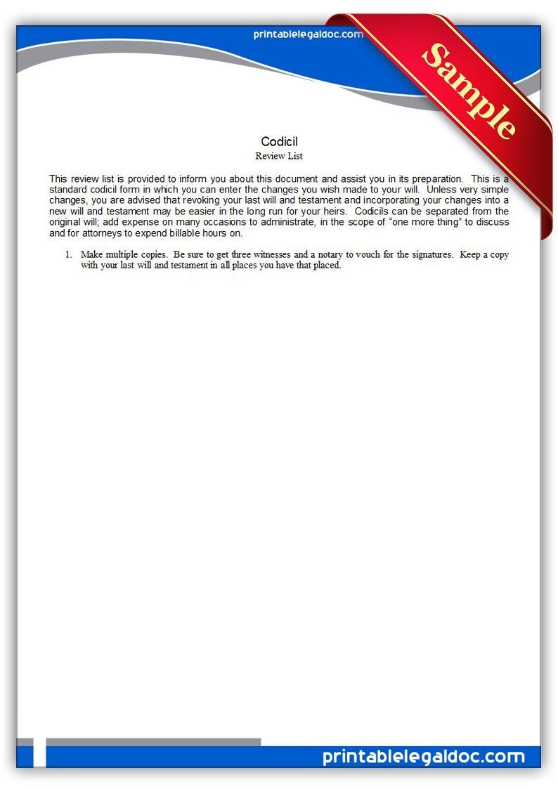 Free Printable Codicil Legal Forms   Free Legal Forms   Online Form - Free Printable Codicil Form