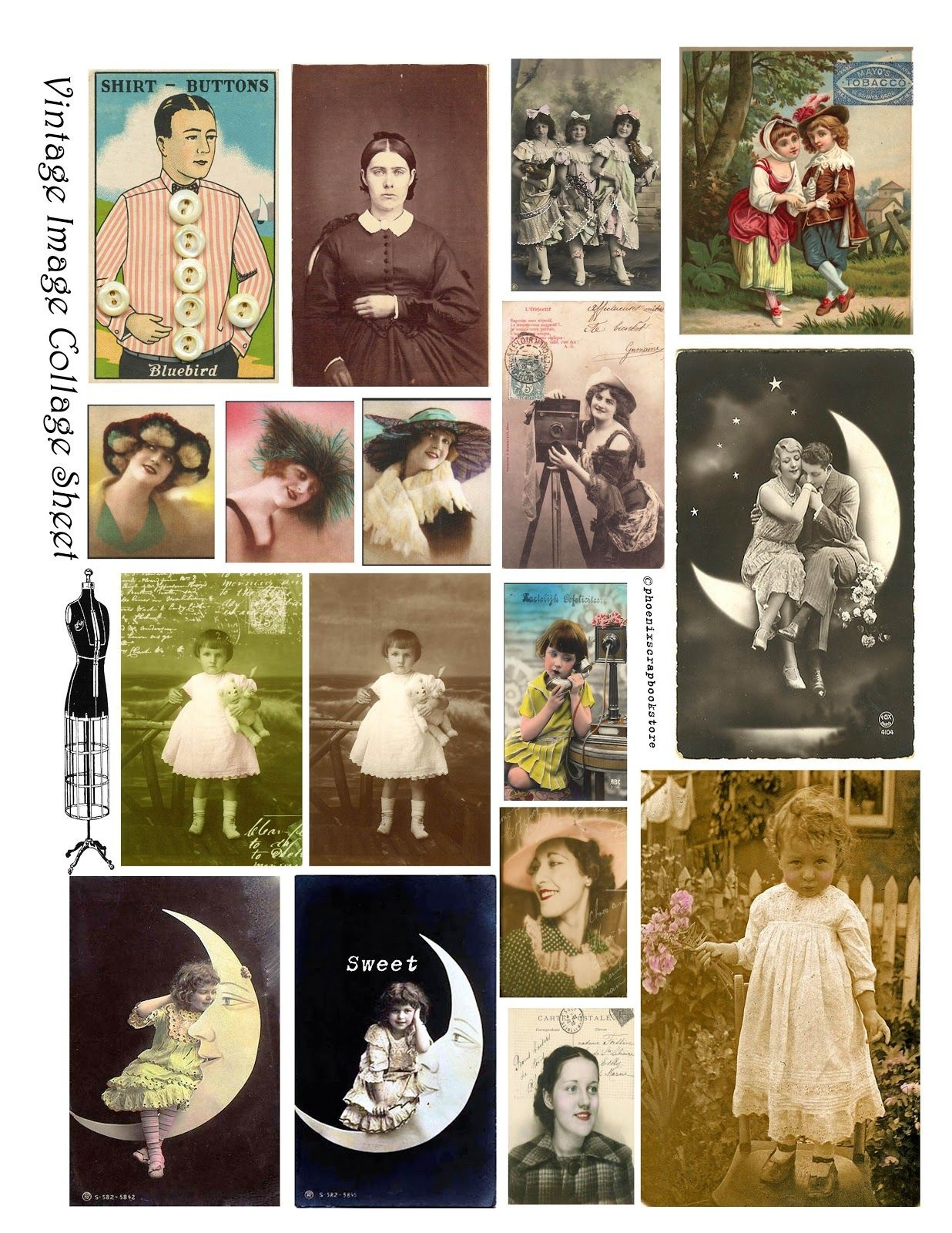 Free Printable Collage Sheets |  Free Vintage Digital Stamps - Free Printable Picture Collage
