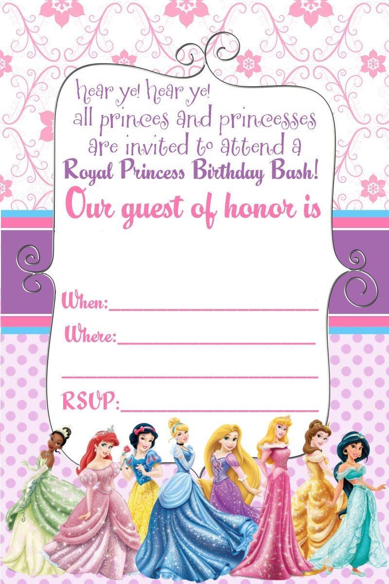 Free Printable Disney Princess Ticket Invitation | Free Printable - Free Printable Birthday Invitation Cards Templates