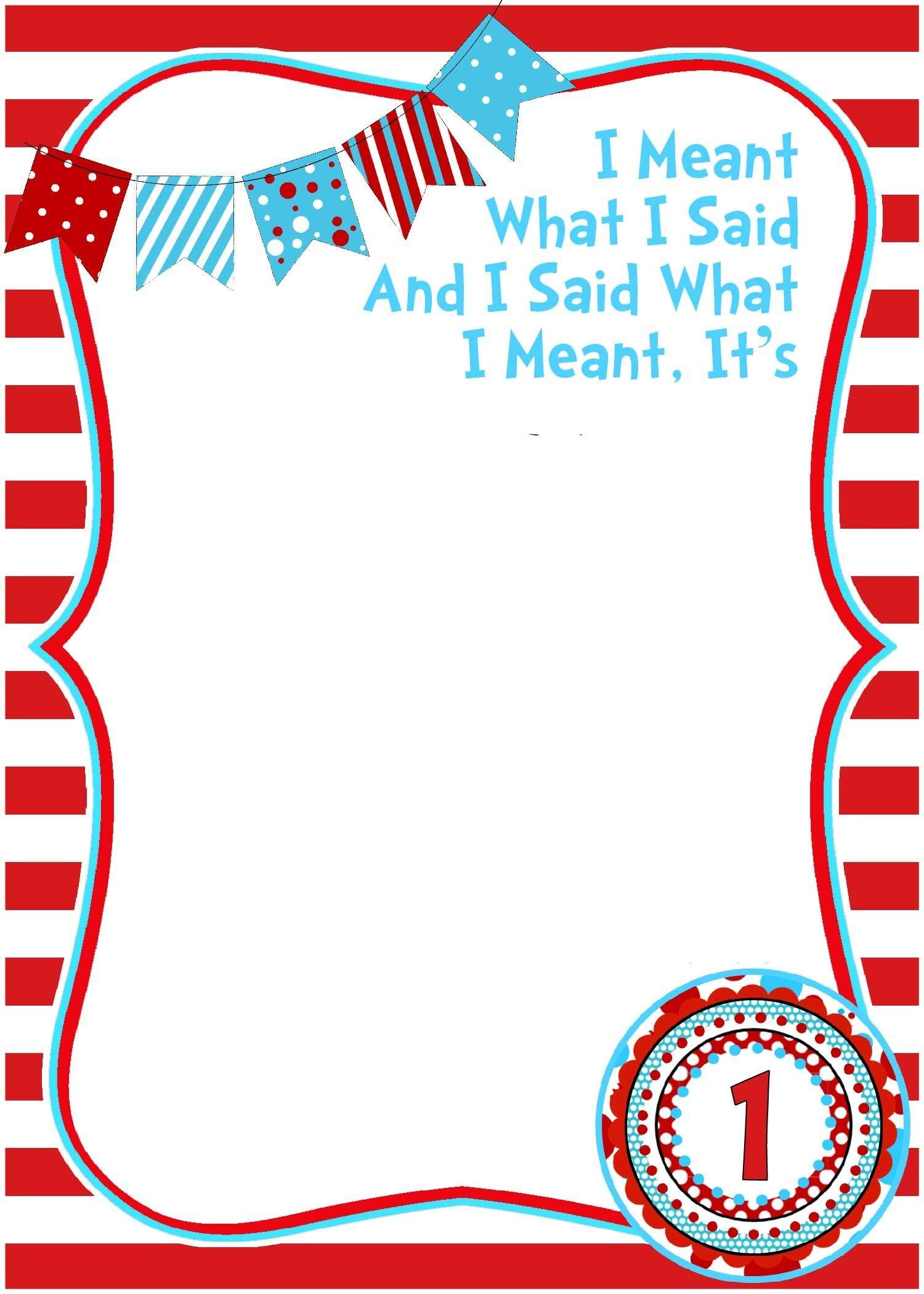 Free Printable Dr Seuss Birthday Invitations   Free Printable - Dr Seuss Free Printable Templates