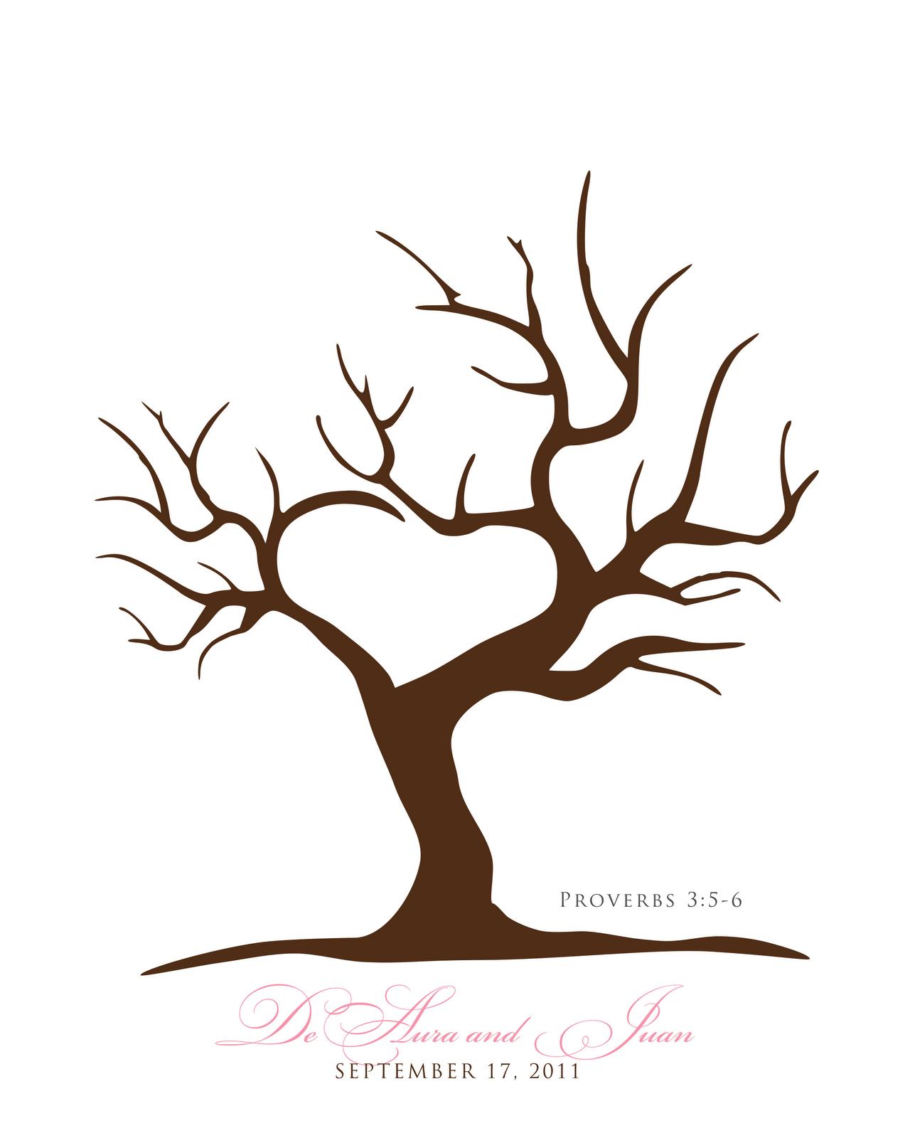 Free Printable Fingerprint Tree Template | Embroidery | Wedding - Free Printable Tree Template