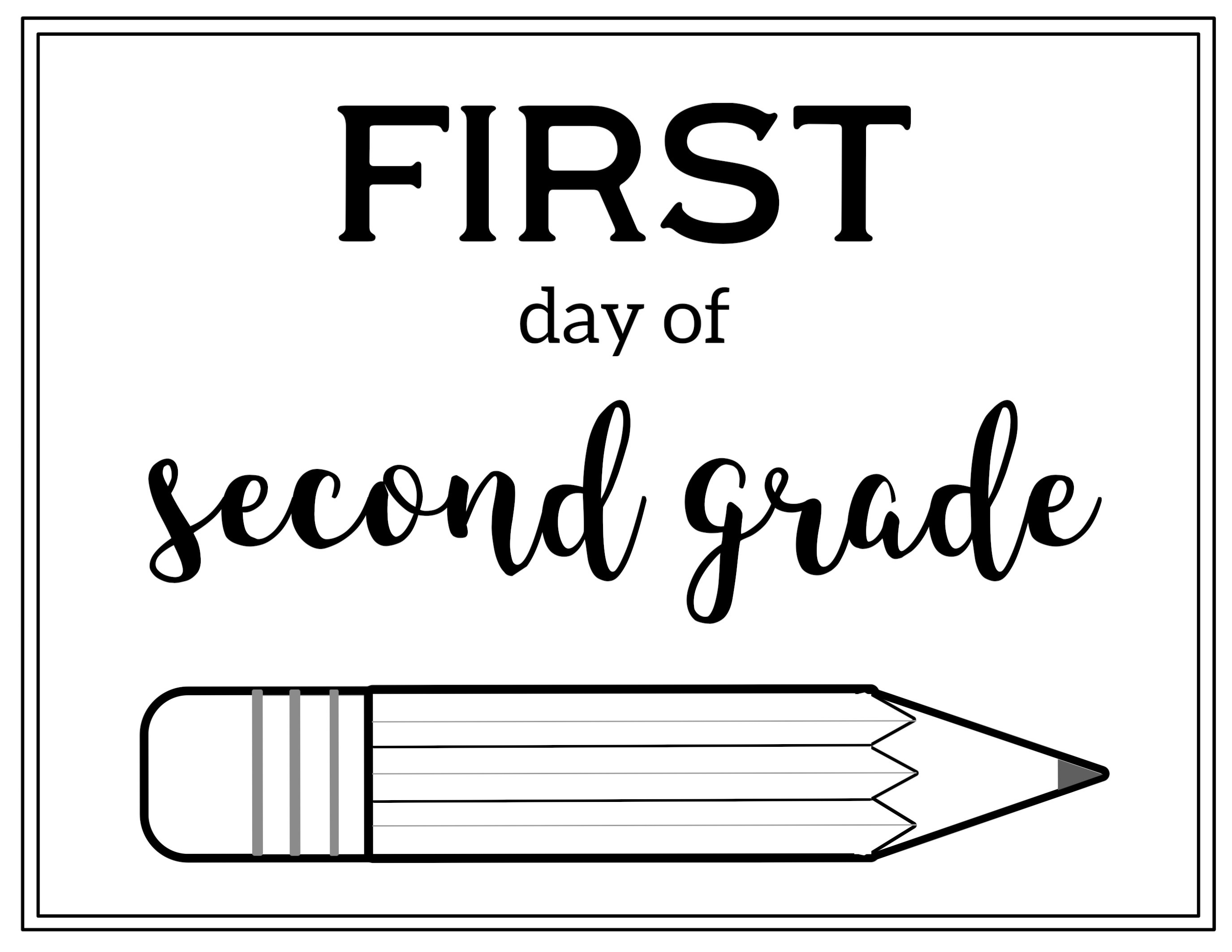 Free Printable First Day Of School Sign {Pencil} - Paper Trail Design - First Day Of Second Grade Free Printable Sign