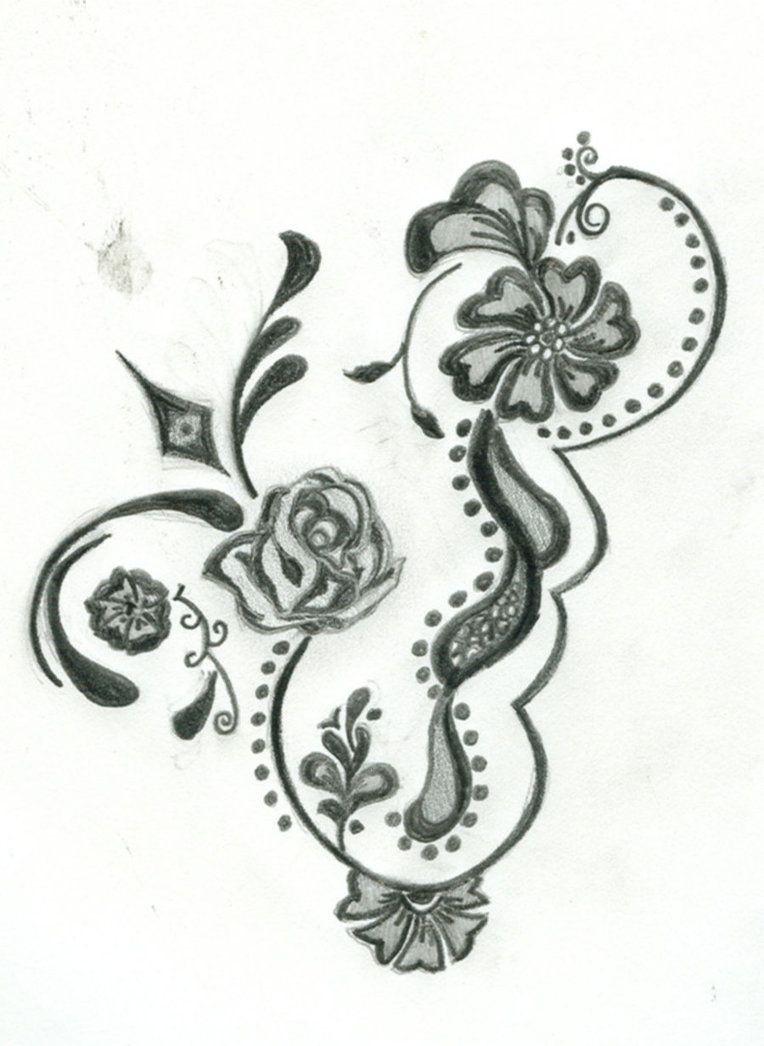 Free Printable Floral Tattoo Designs   Flower Henna Design Four - Free Printable Henna Tattoo Designs