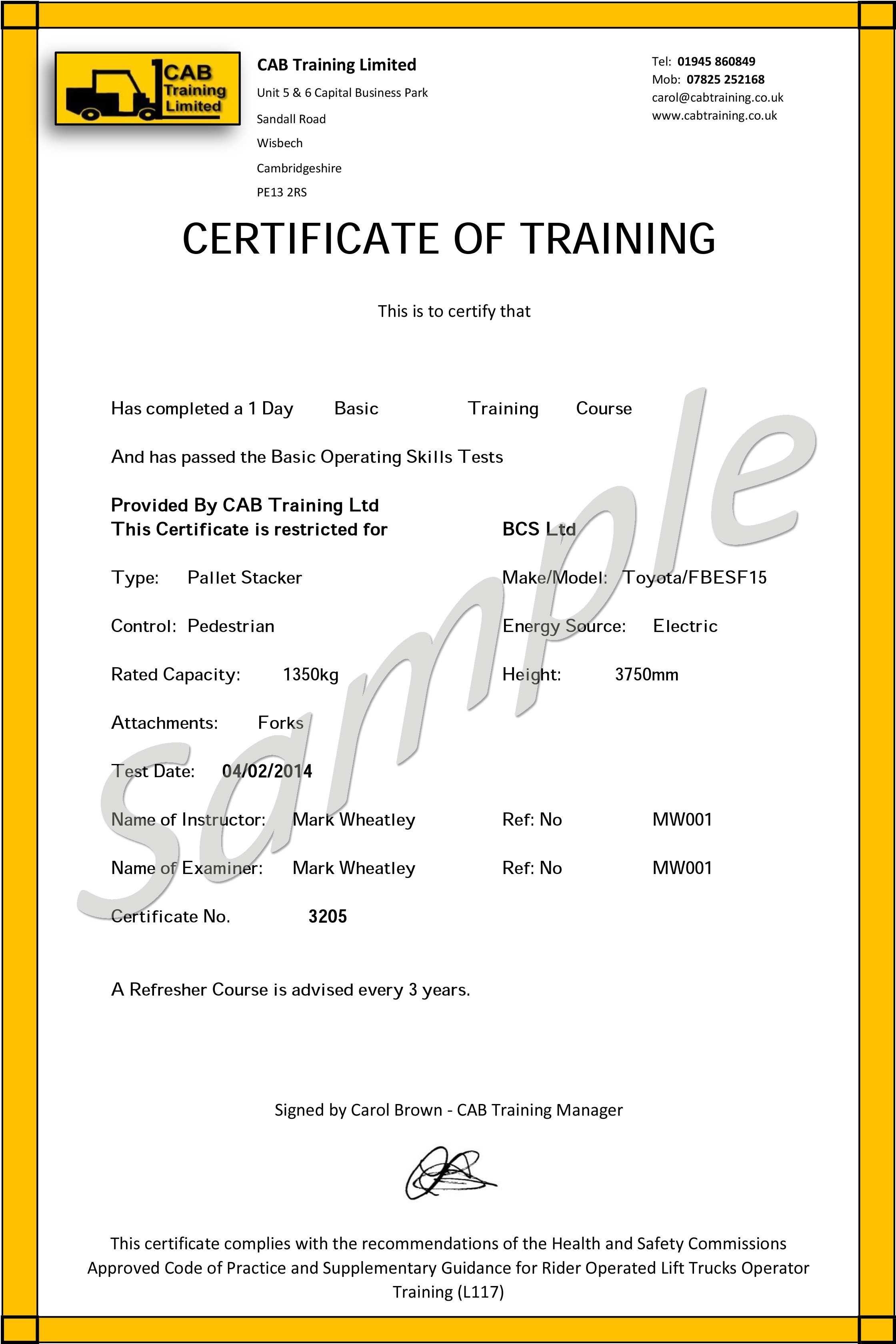 Free Printable Forklift Certification Cards Ideal Forklift - Free Printable Forklift License Template