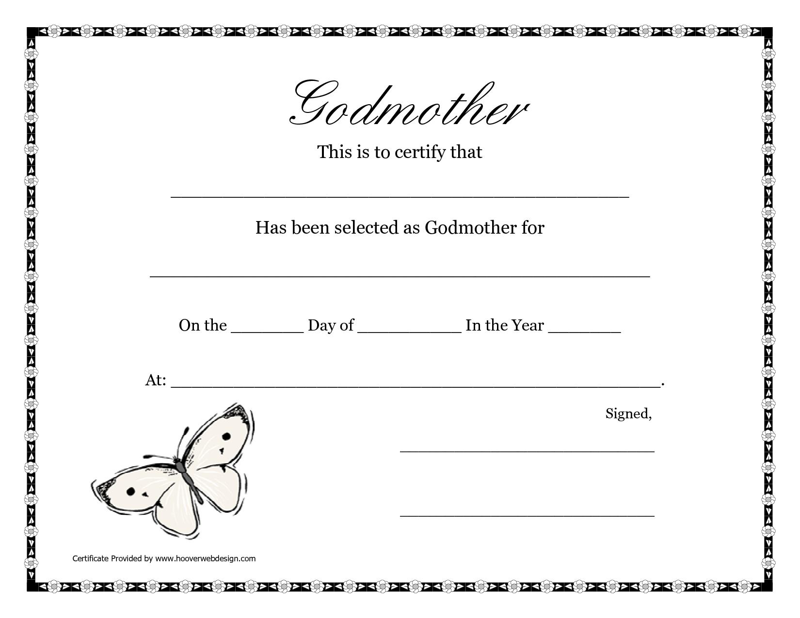 Free Printable Godparent Certificates | Printable Godmother - Free Online Printable Baptism Certificates