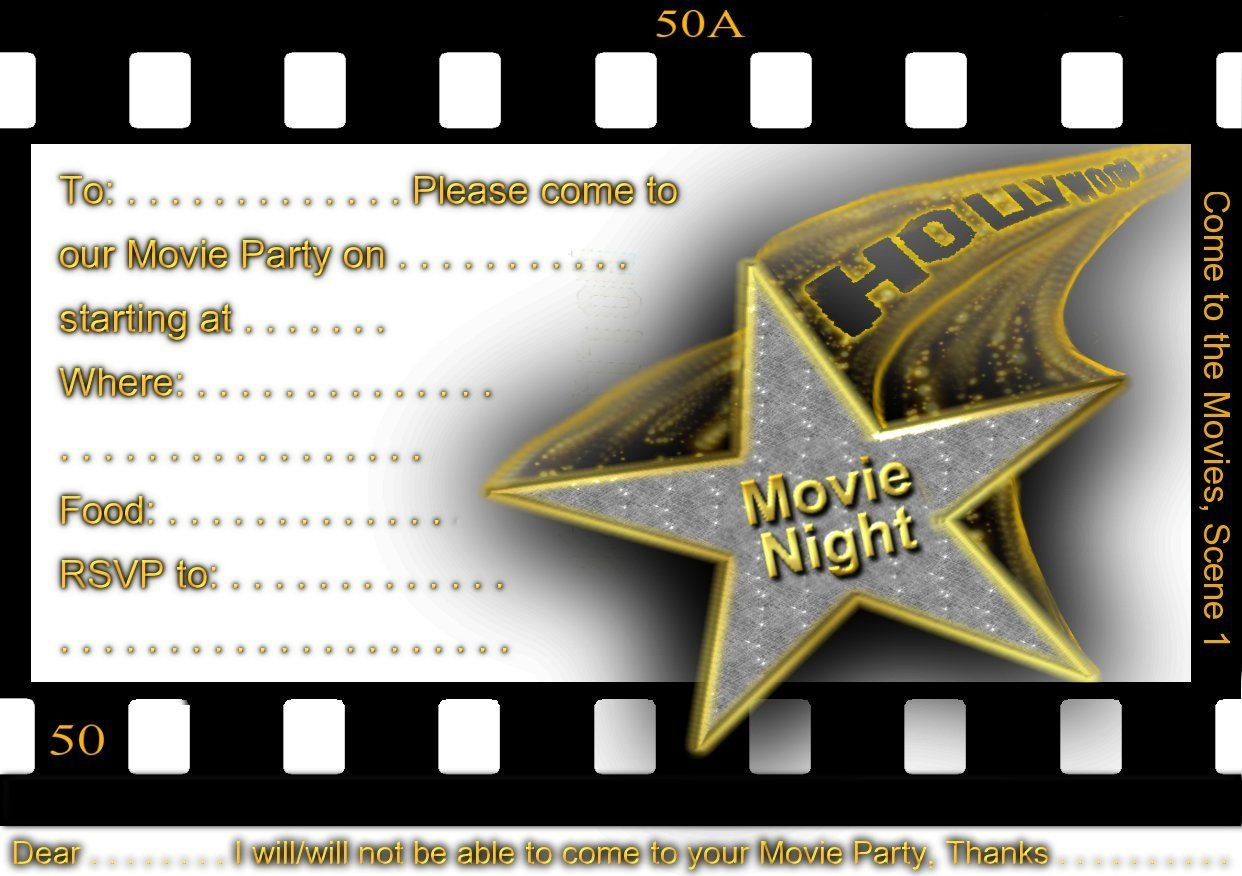 Free Printable Gratuation Movie Themed Invitations | Printable Movie - Movie Night Birthday Invitations Free Printable