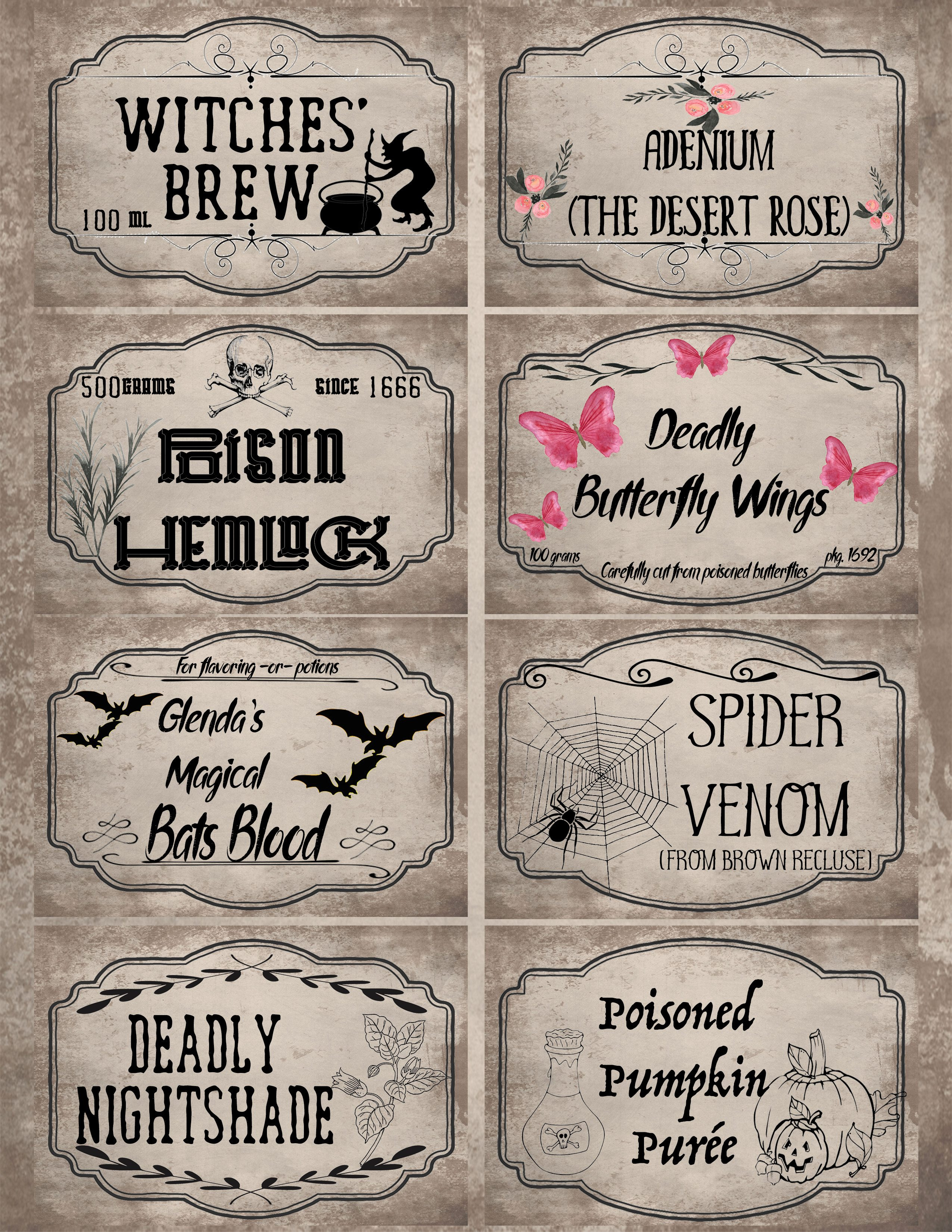 Free Printable Halloween Apothecary Labels: 16 Designs Plus Blanks! - Free Printable Potion Labels