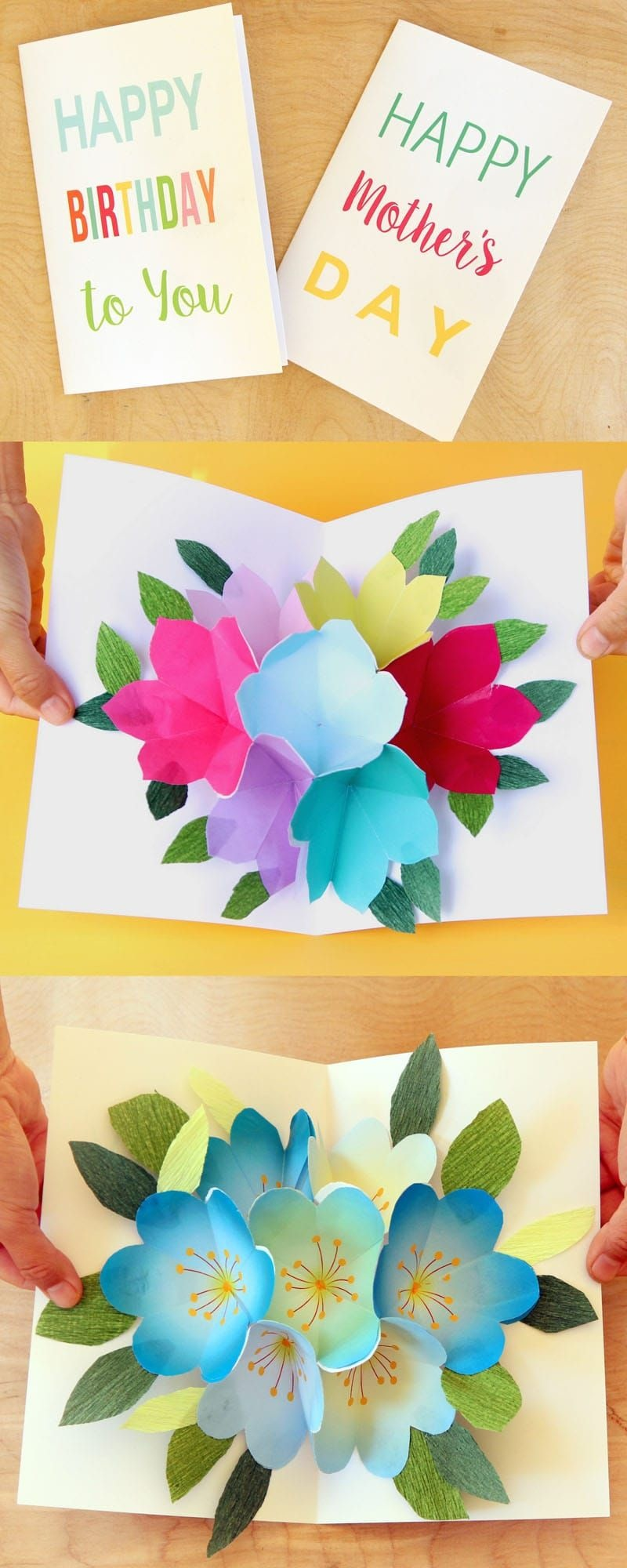 Free Printable Happy Birthday Card With Pop Up Bouquet | Printables - Free Printable Pop Up Card Templates