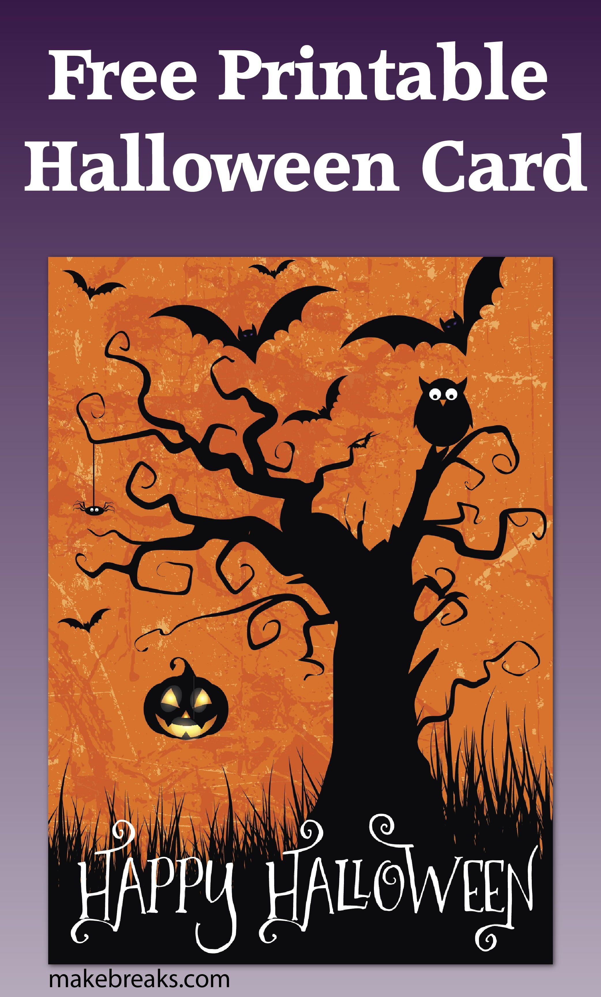 Free Printable Happy Halloween Card Or Party Invitation   Free Party - Printable Halloween Cards To Color For Free