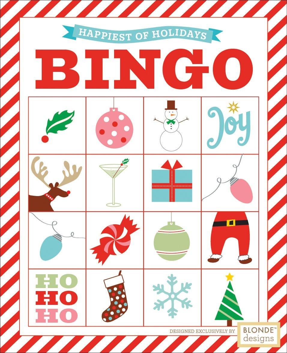 Free Printable: Holiday Bingo {Blonde Designs Blog}   Christmas - Free Printable Christmas Bingo