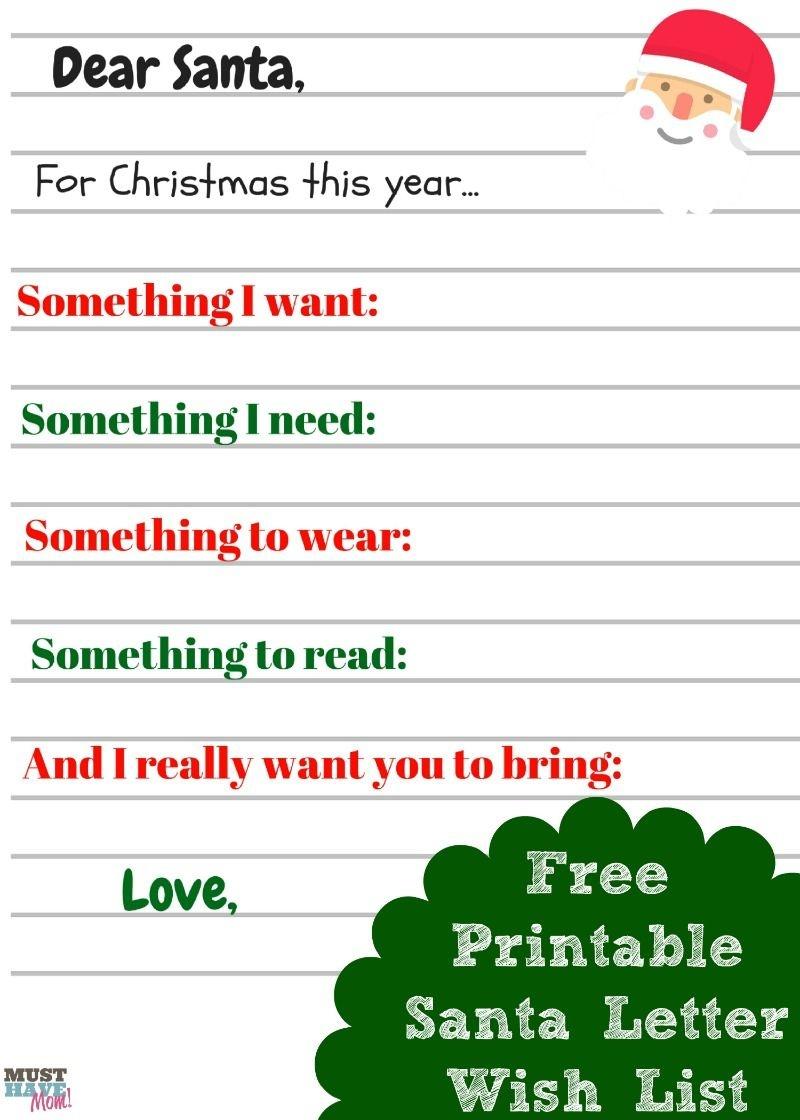 Free Printable Kids Christmas Wish List Santa Letter   Must Have Mom - Free Printable Christmas Wish List