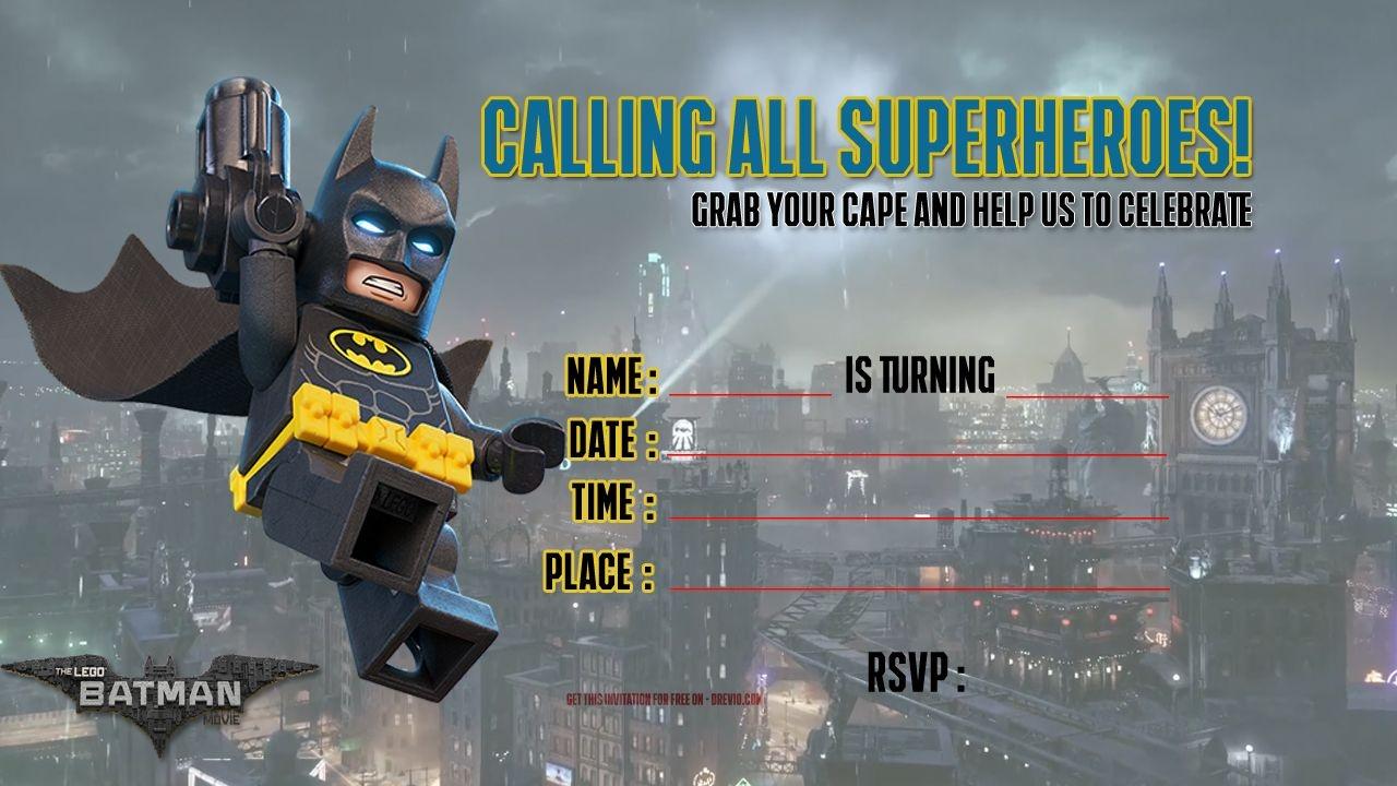Free Printable Lego Batman The Movie Invitation   Free Printable - Lego Batman Party Invitations Free Printable
