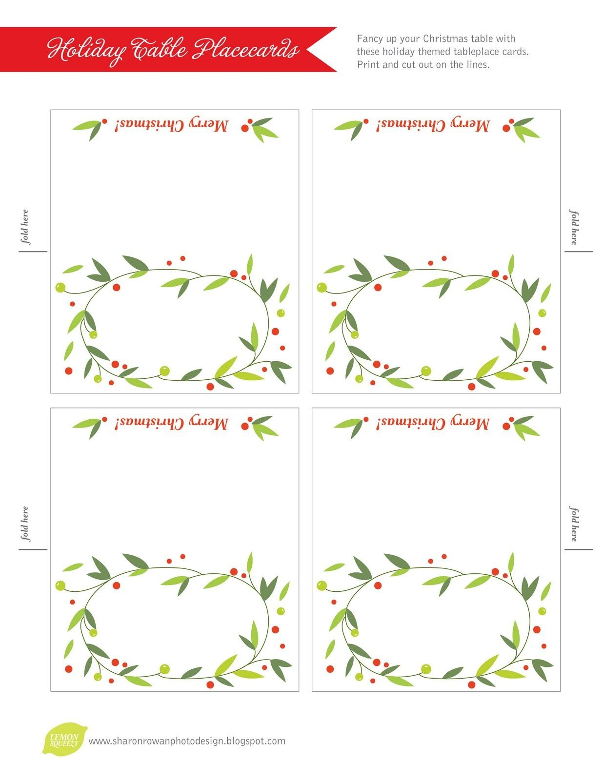 Free Printable Lemon Squeezy: Day 12: Place Cards | Work Stuff - Free Printable Place Cards Template