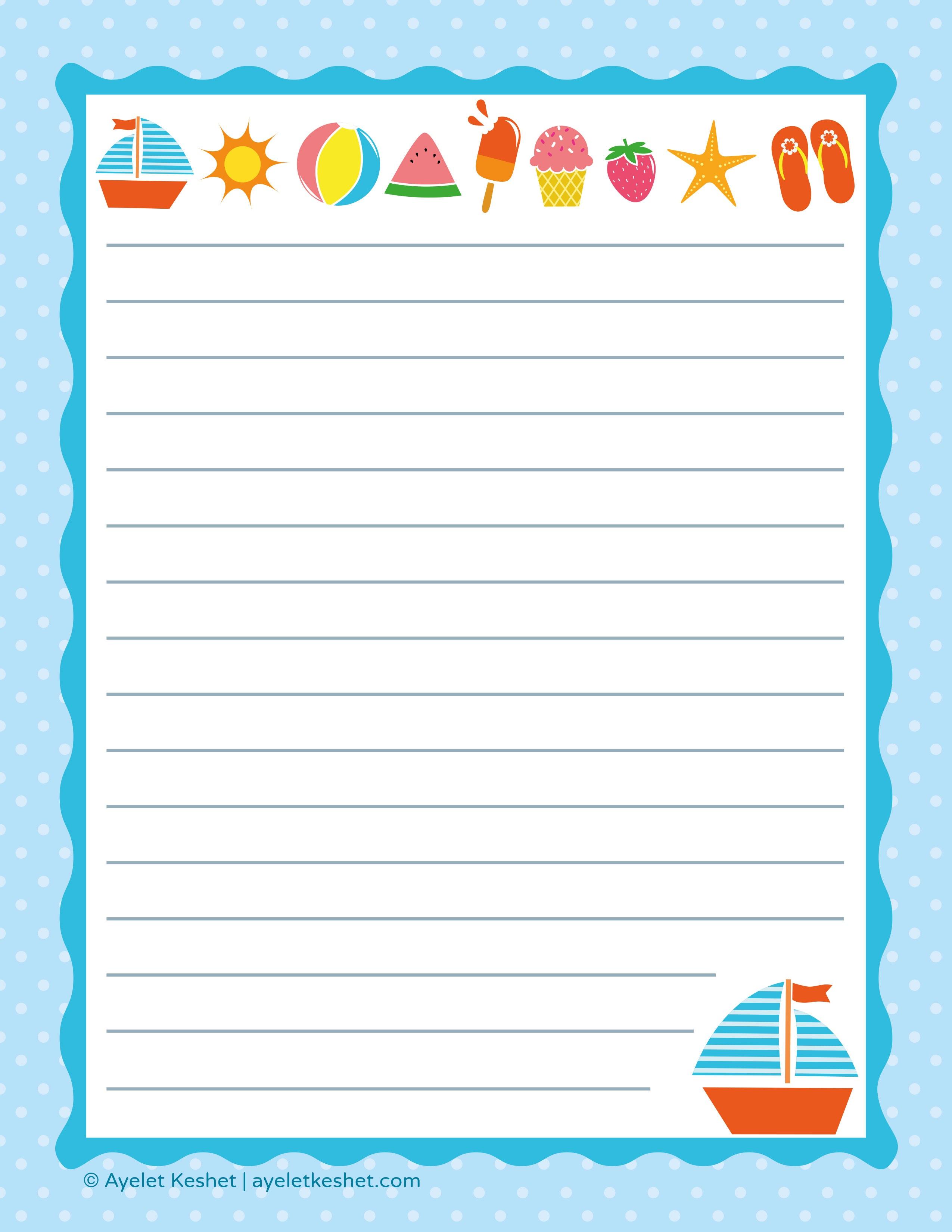 Free Printable Letter Paper - Ayelet Keshet - Free Printable Stationery