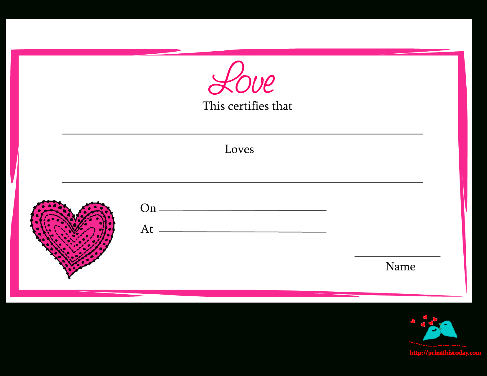 Free Printable Love Certificate   For The Holidays   Free, Love Is - Free Printable Love Certificates For Him