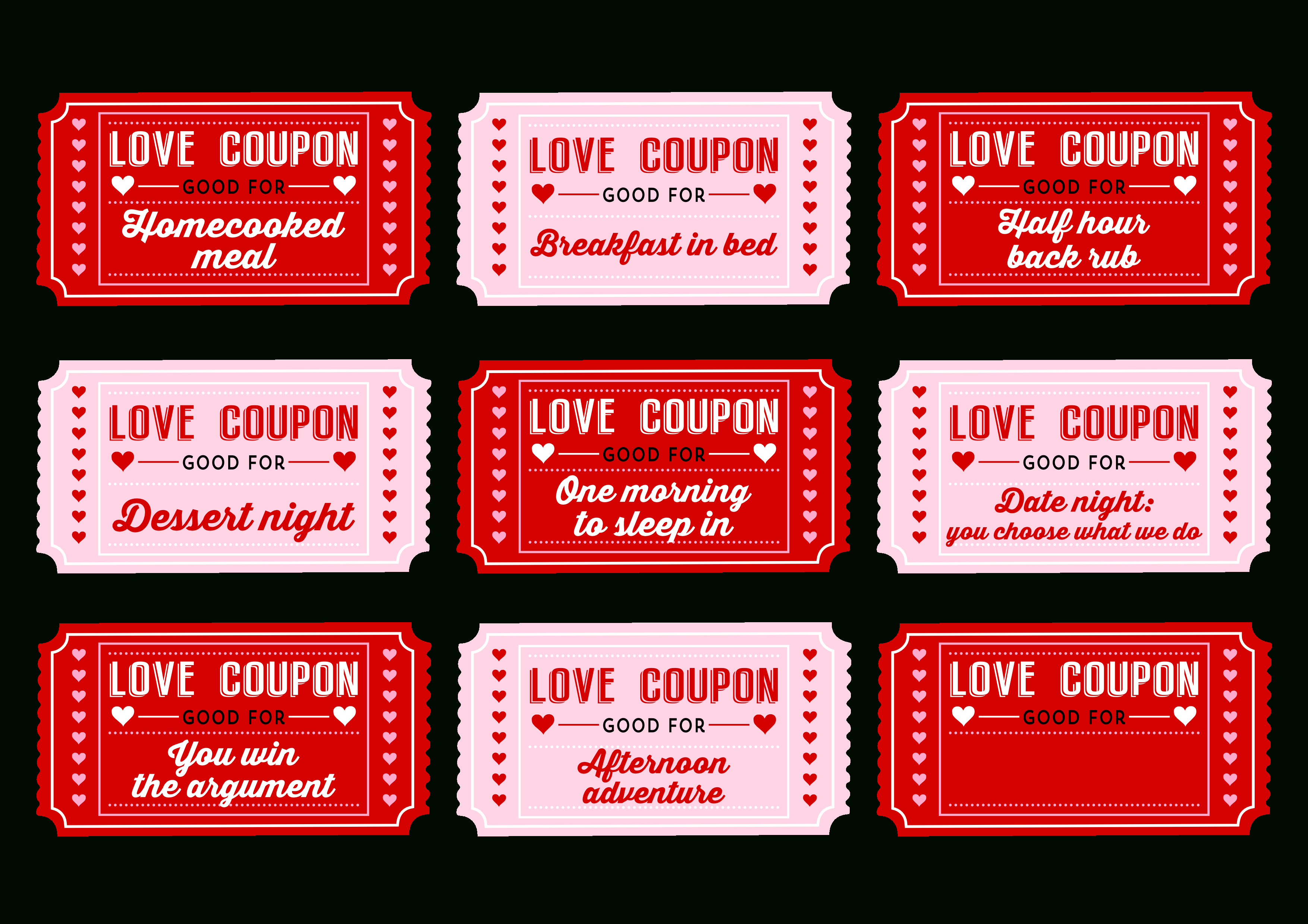 Free Printable Love Coupons For Couples On Valentine's Day!   Decor - Free Printable Love Certificates For Him