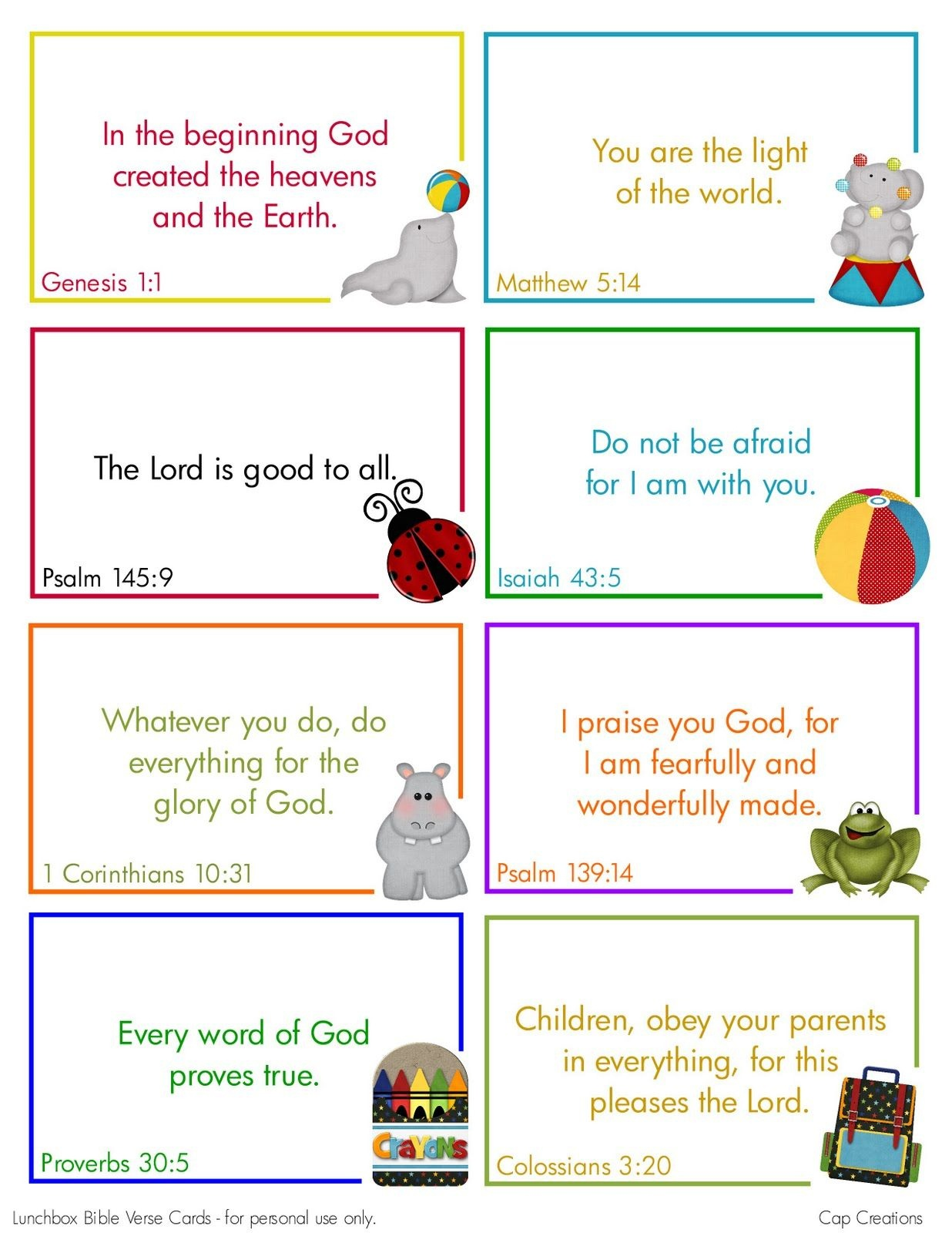 Free Printable Lunchbox Bible Verse Cards | Printables | Preschool - Free Printable Bible Verses For Children
