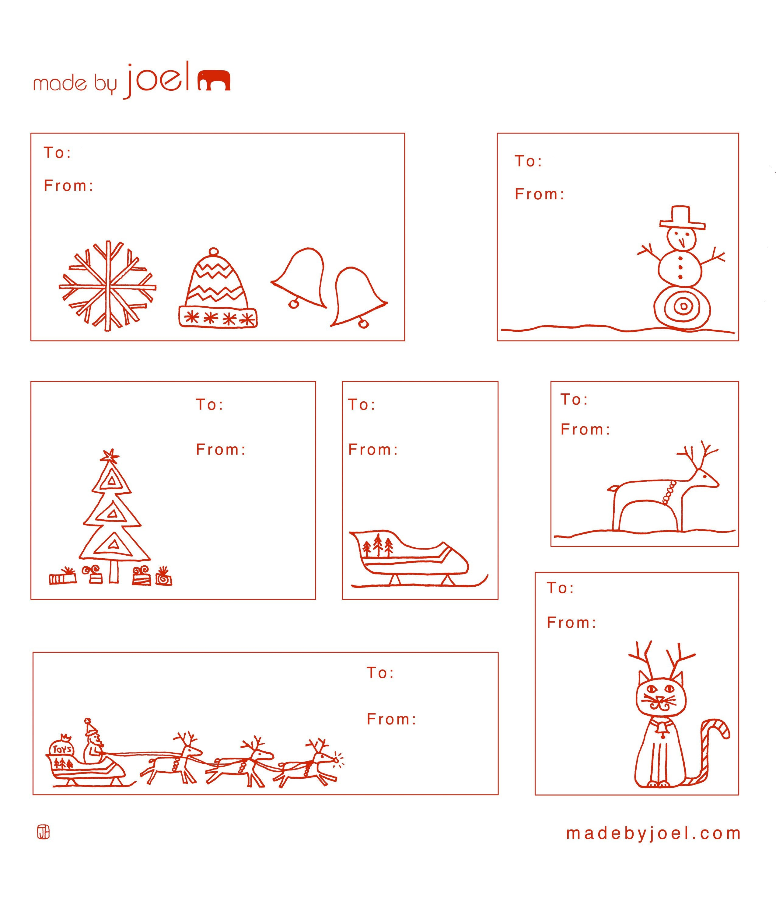 Free Printable: Madejoel » Holiday Gift Tag Templates - Free Printable To From Gift Tags