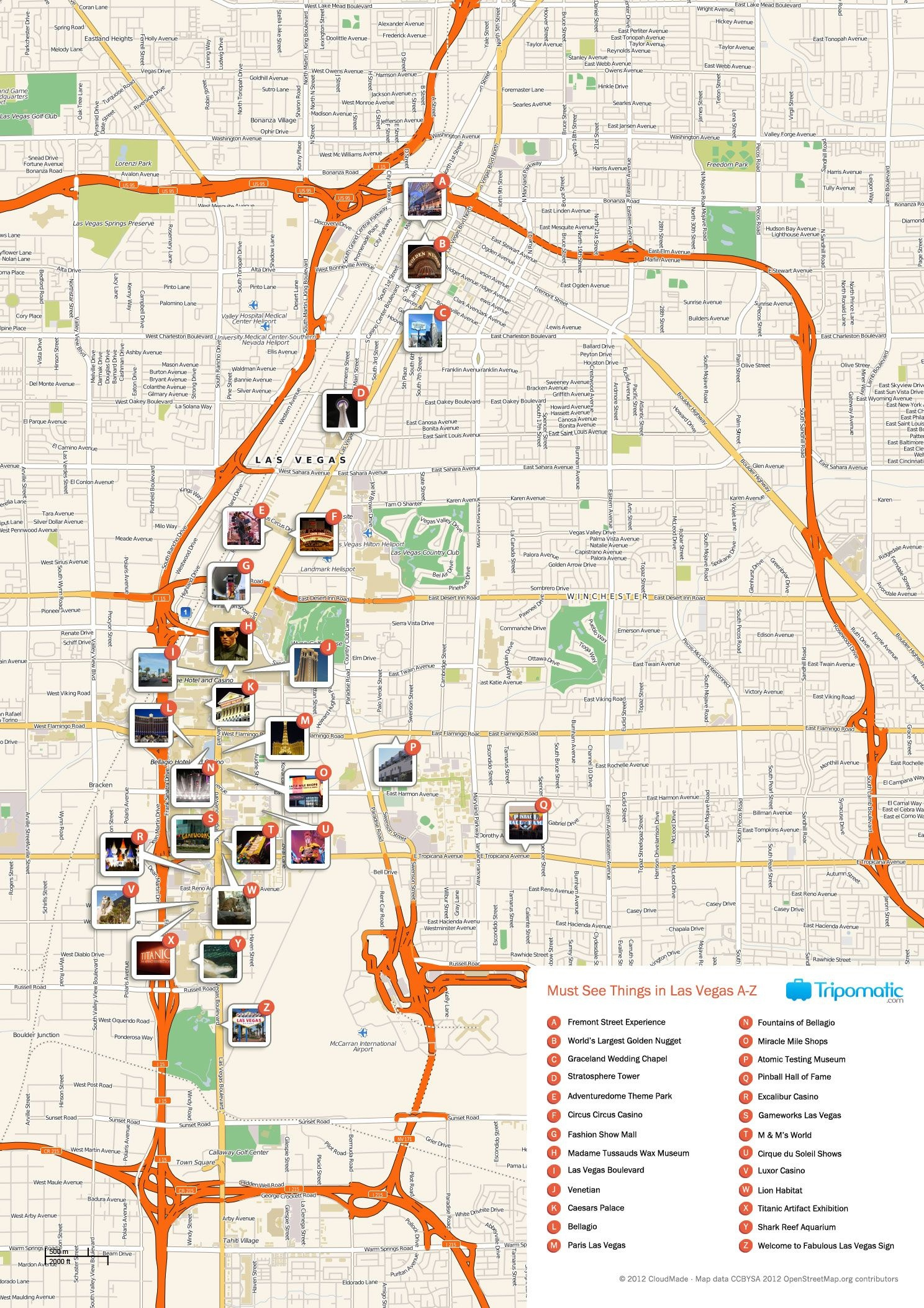 Free Printable Map Of Las Vegas Attractions.   Free Tourist Maps - Free Printable Las Vegas Coupons 2014