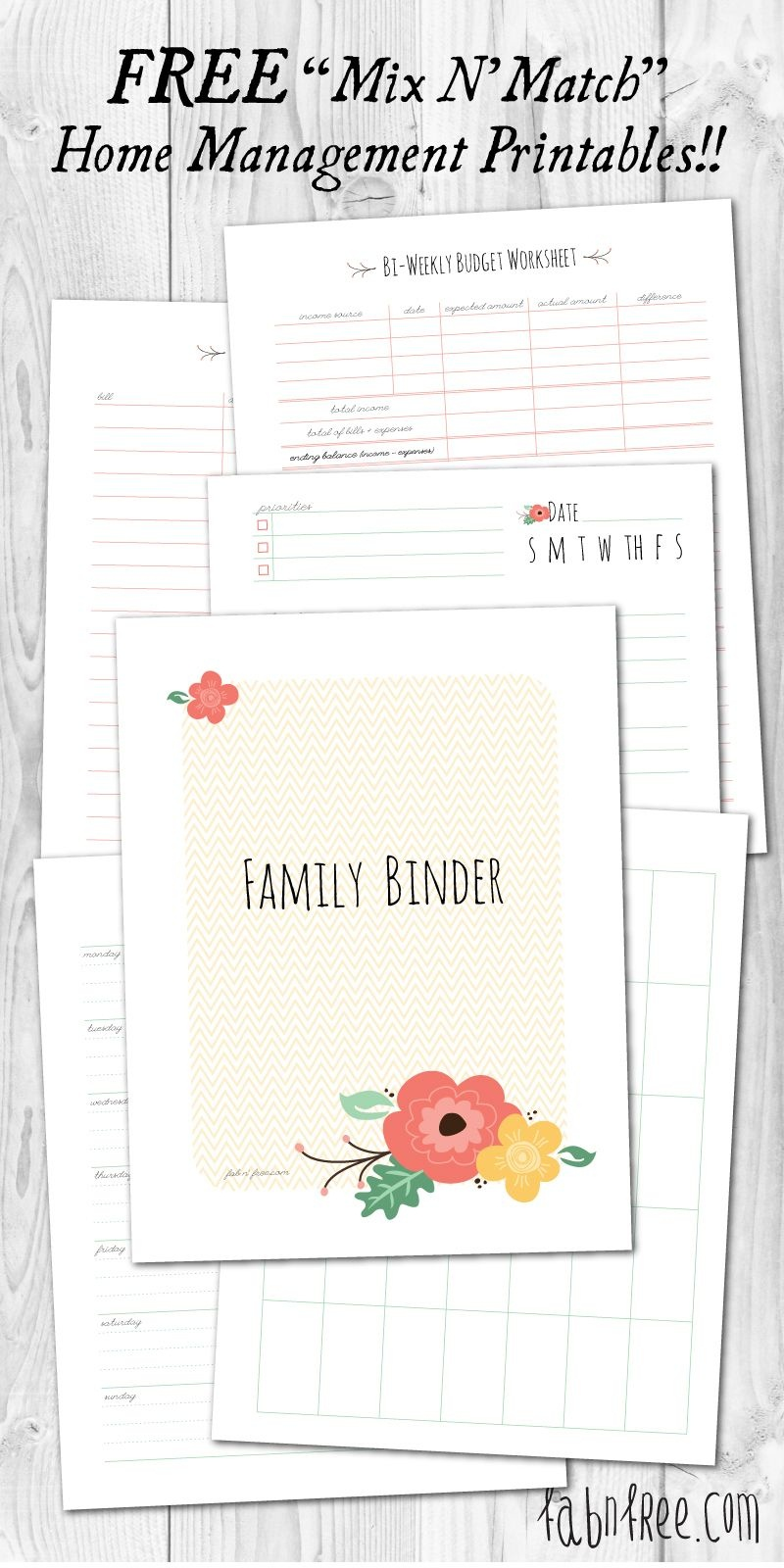 Free Printable Mix & Match Home Management Binder   // Free - Free Printable Household Binder