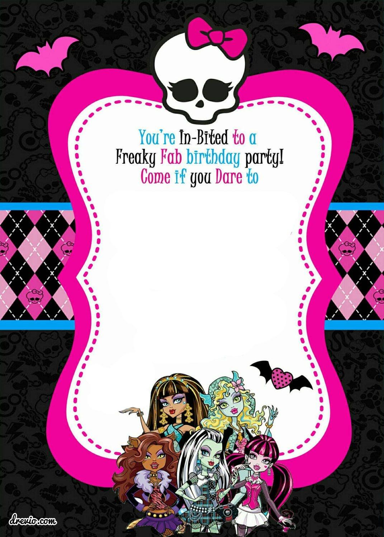 Free Printable Monster High Birthday Invitations | Monster High - Monster High Cupcake Toppers Printable Free