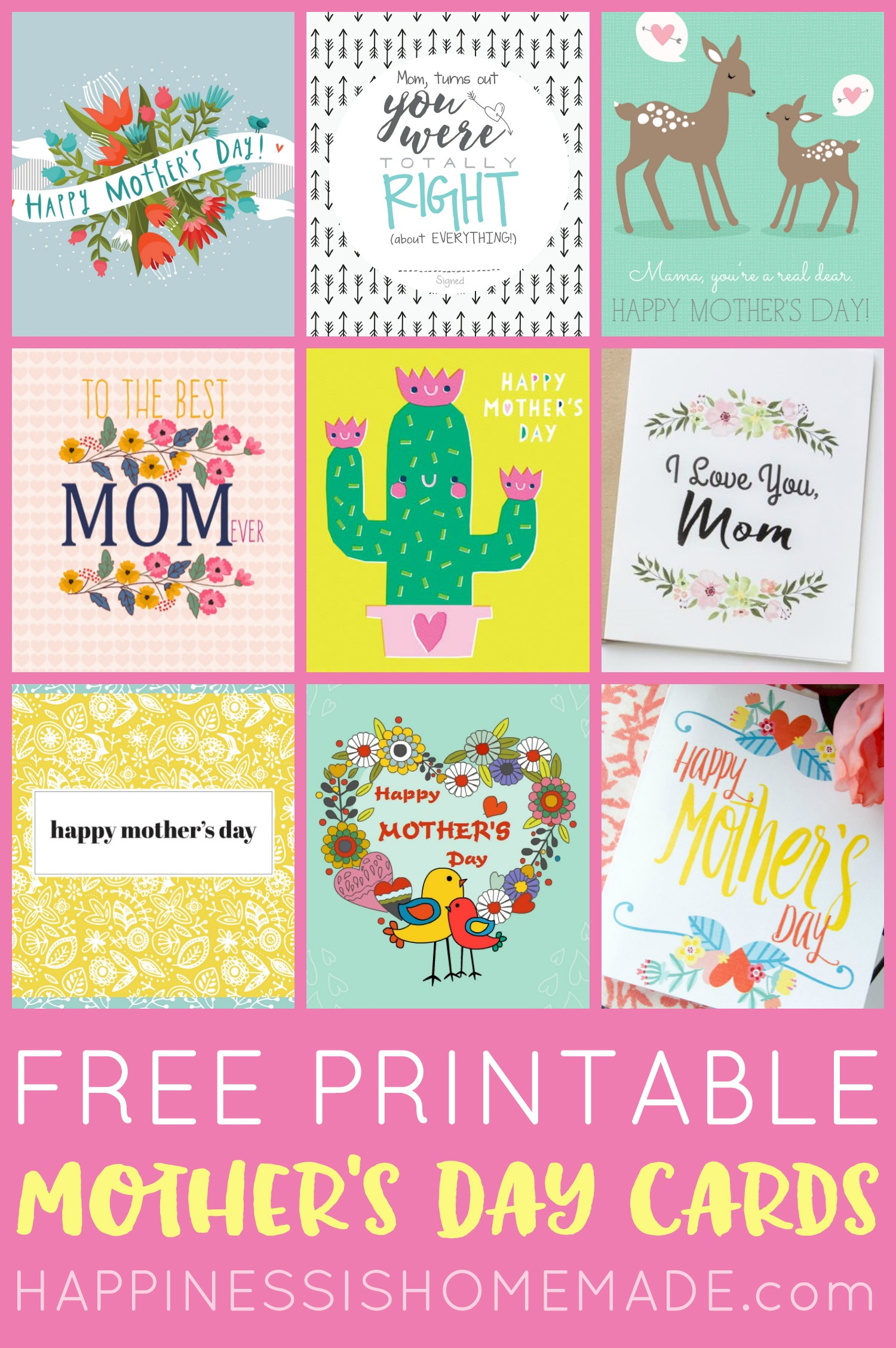 Free Printable Mother's Day Cards - Happiness Is Homemade - Free Printable Cards