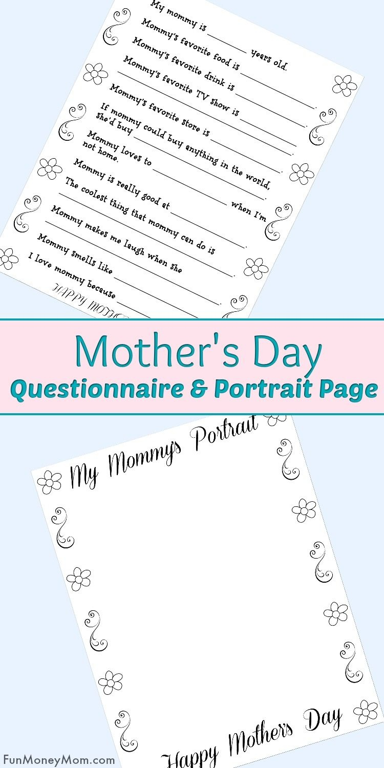Free Printable Mother's Day Questionnaire & Portrait Page   Best Of - Free Printable Mother's Day Questionnaire