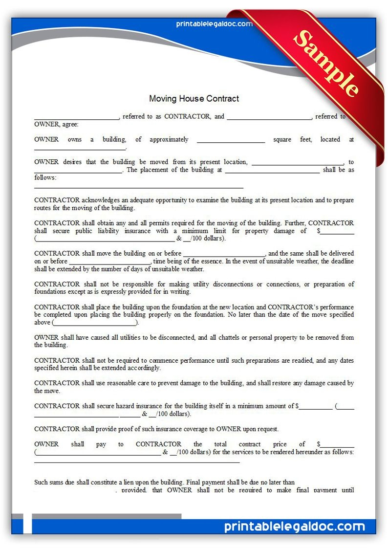 Free Printable Moving House Contract Legal Forms | Free Legal Forms - Free Printable Legal Forms California