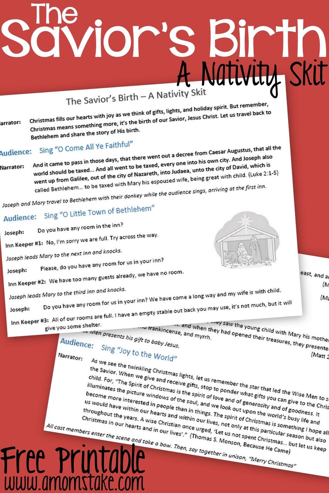 Free Printable Nativity Skit To Act Out The Birth Of The Savior - Free Printable Christmas Plays For Sunday School