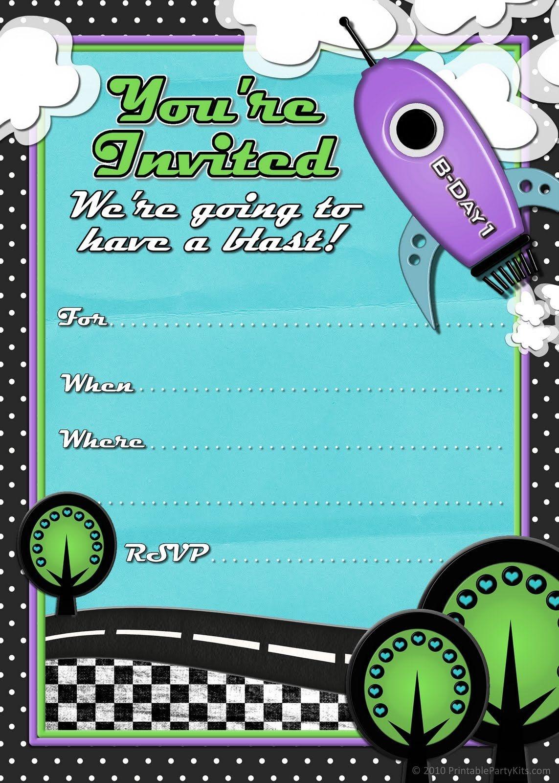 Free Printable Party Invitations: Rocket Ship Birthday Invites For - Free Printable Boy Birthday Invitations