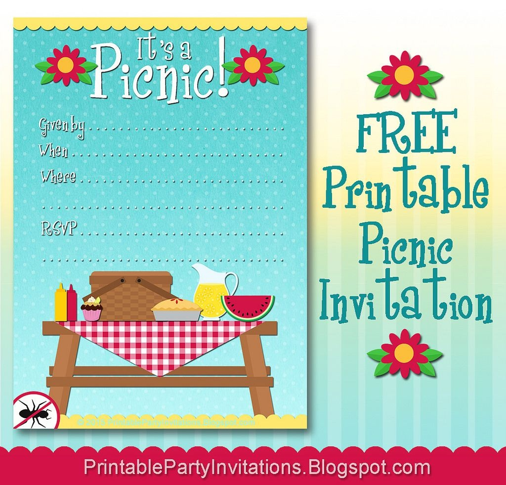 Free Printable Picnic Invitation | Parties | Picnic Invitations - Free Printable Cookout Invitations