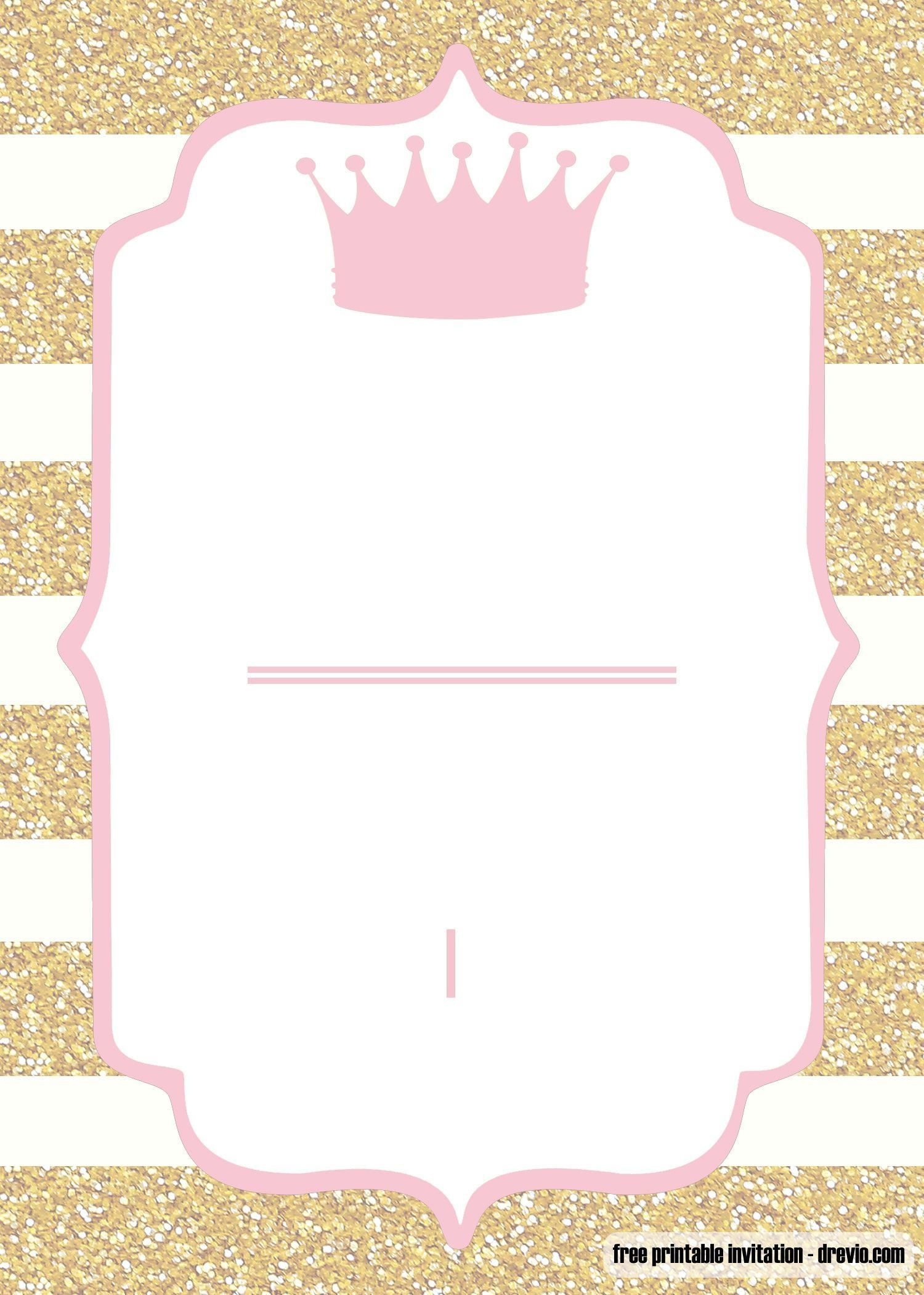 Free Printable Pink And Gold Baby Shower Invitation | Baby - Free Printable Blank Baby Shower Invitations