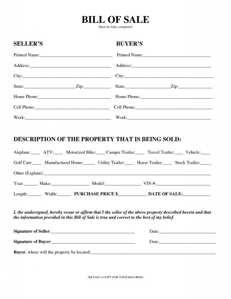 Free Printable Printable Bill Of Sale For Travel Trailer Form (Generic) - Free Printable Bill Of Sale For Trailer