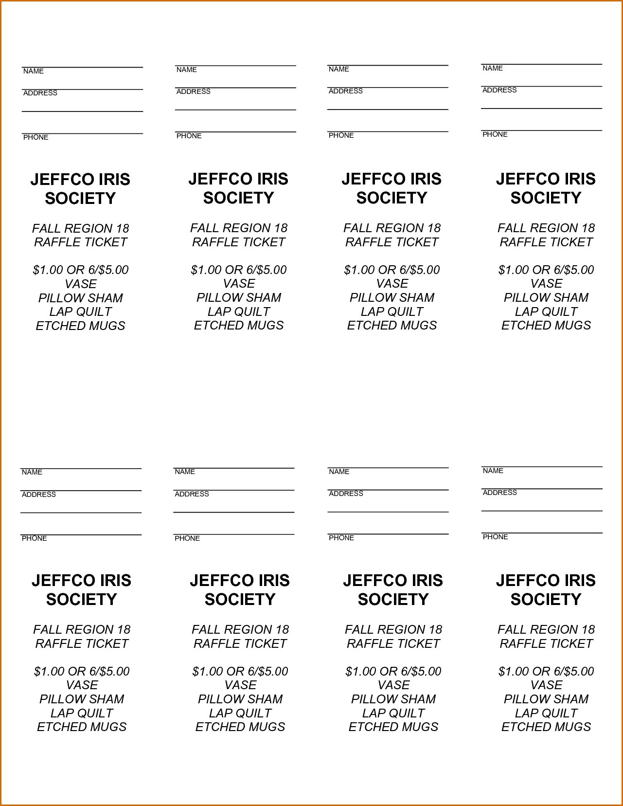 Free Printable Raffle Tickets - Free Printable Raffle Ticket - Free Printable Raffle Tickets