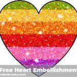 Free Printable Rainbow Glitter Heart Embellishment | Free   Free Printable Rainbow Letters