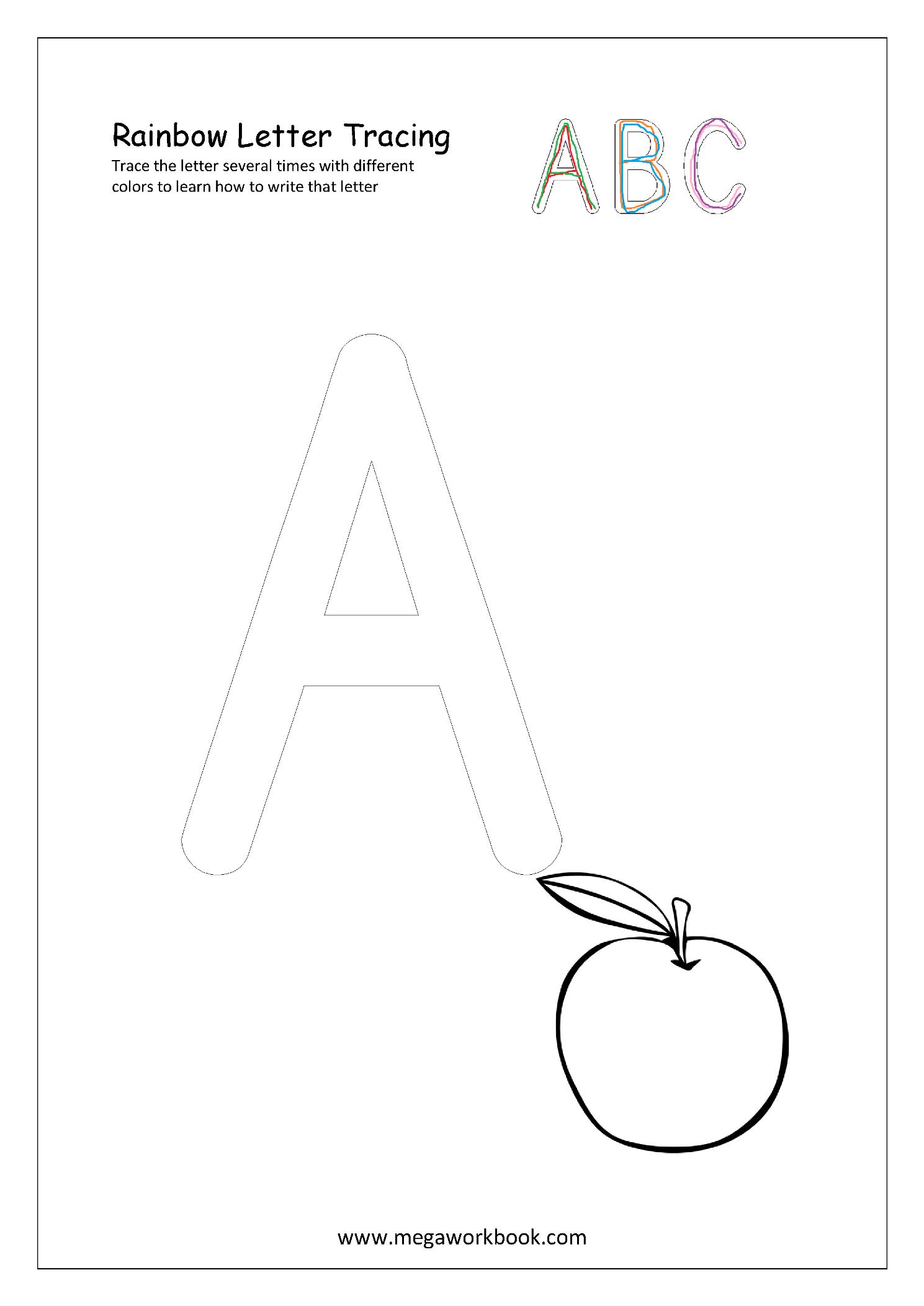 Free Printable Rainbow Writing Worksheets - Rainbow Letter Tracing - Free Printable Rainbow Letters