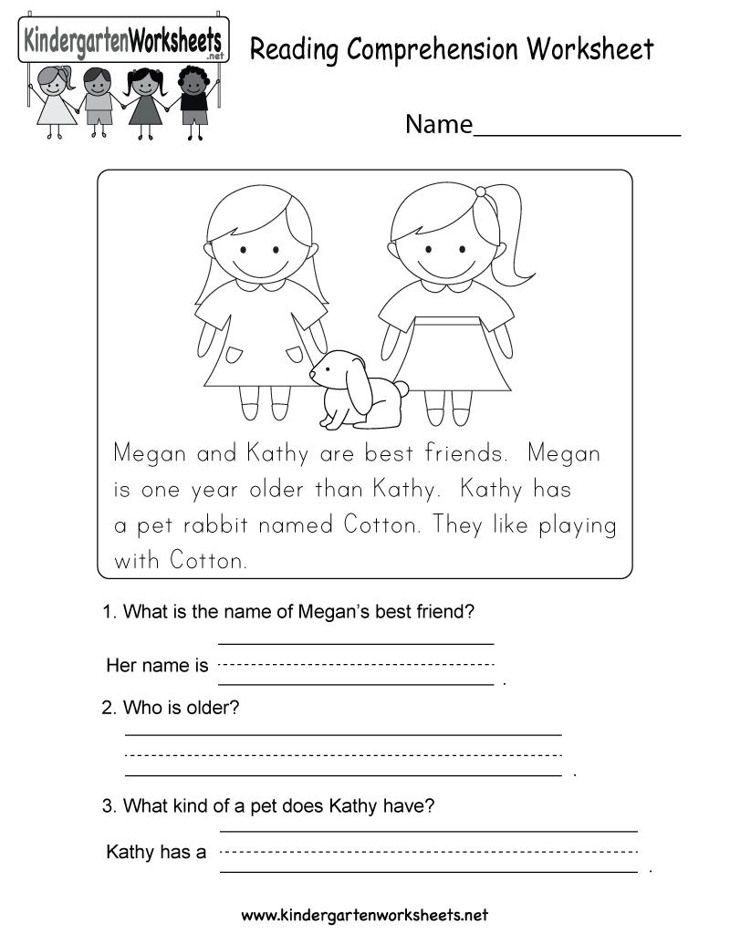 Free Printable Reading Comprehension Worksheet For Kindergarten - Free Printable Reading Comprehension Worksheets