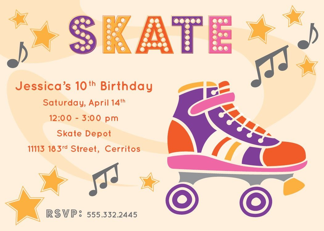 Free Printable Roller Skating Party Invitations | Laylas Birthday - Free Printable Roller Skate Template